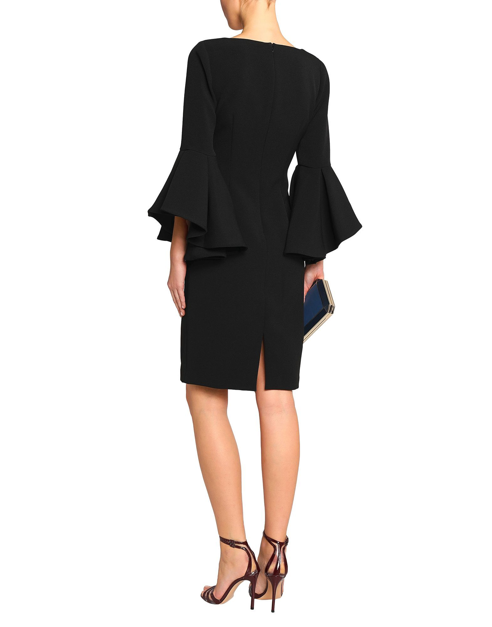 Badgley Mischka Black Long Flared Sleeve Dress