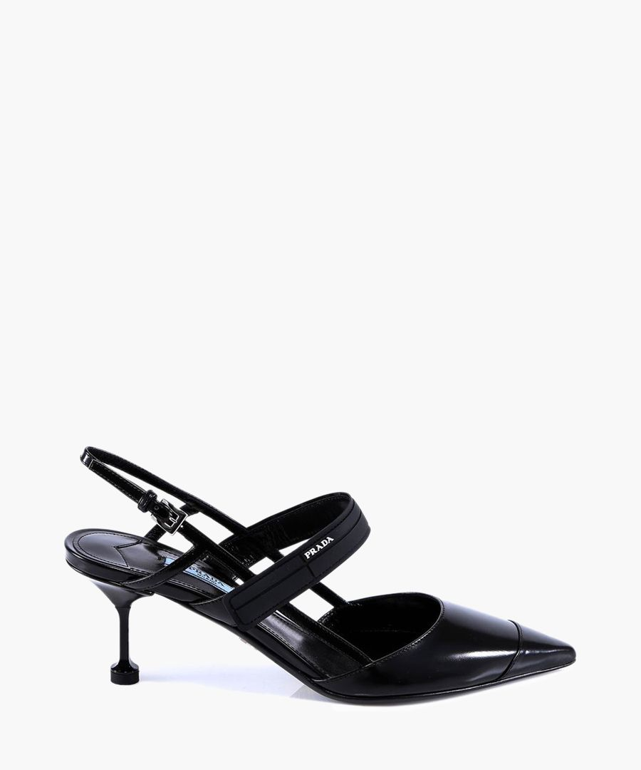 Black cut-out slingback heels