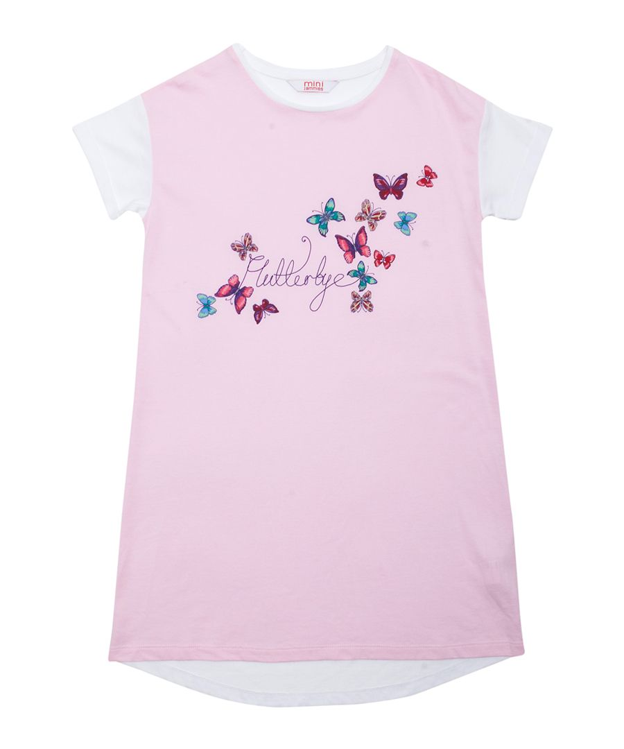 Pink and white cotton-blend butterfly nightshirt