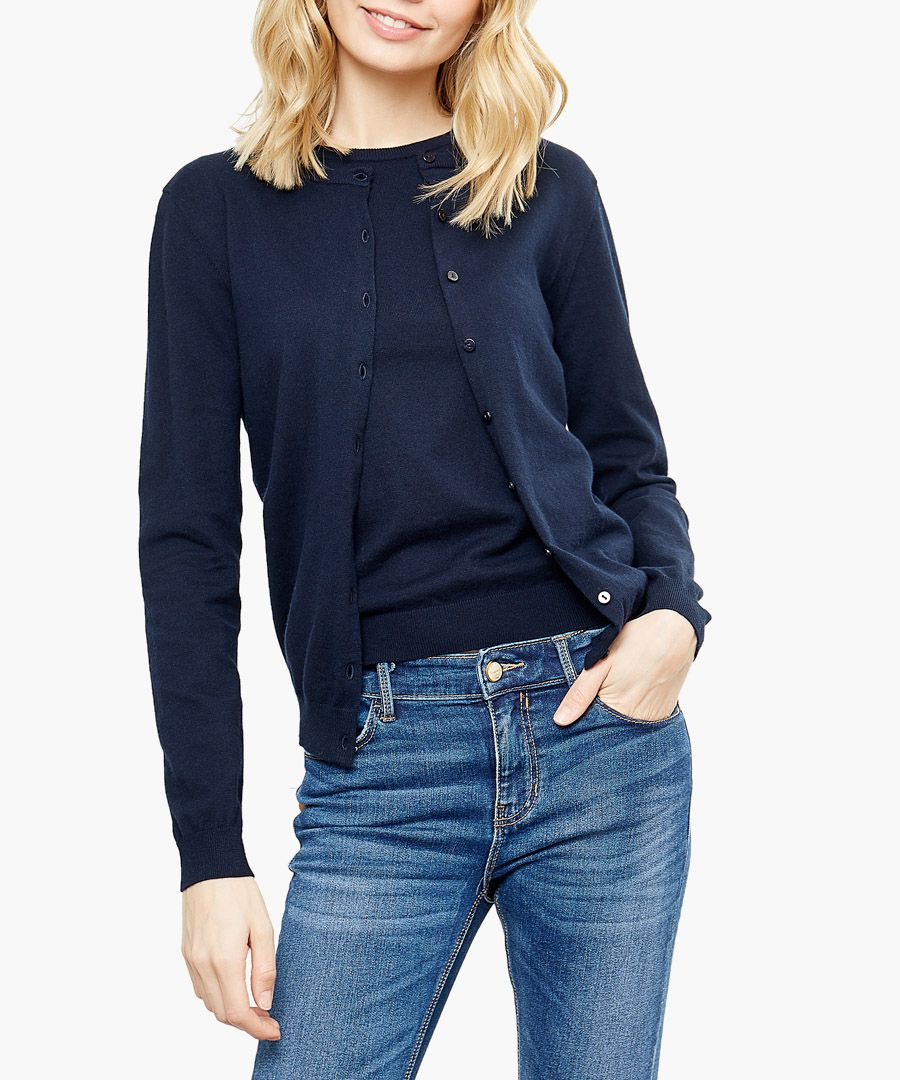 Navy cotton and cashmere blend twin set