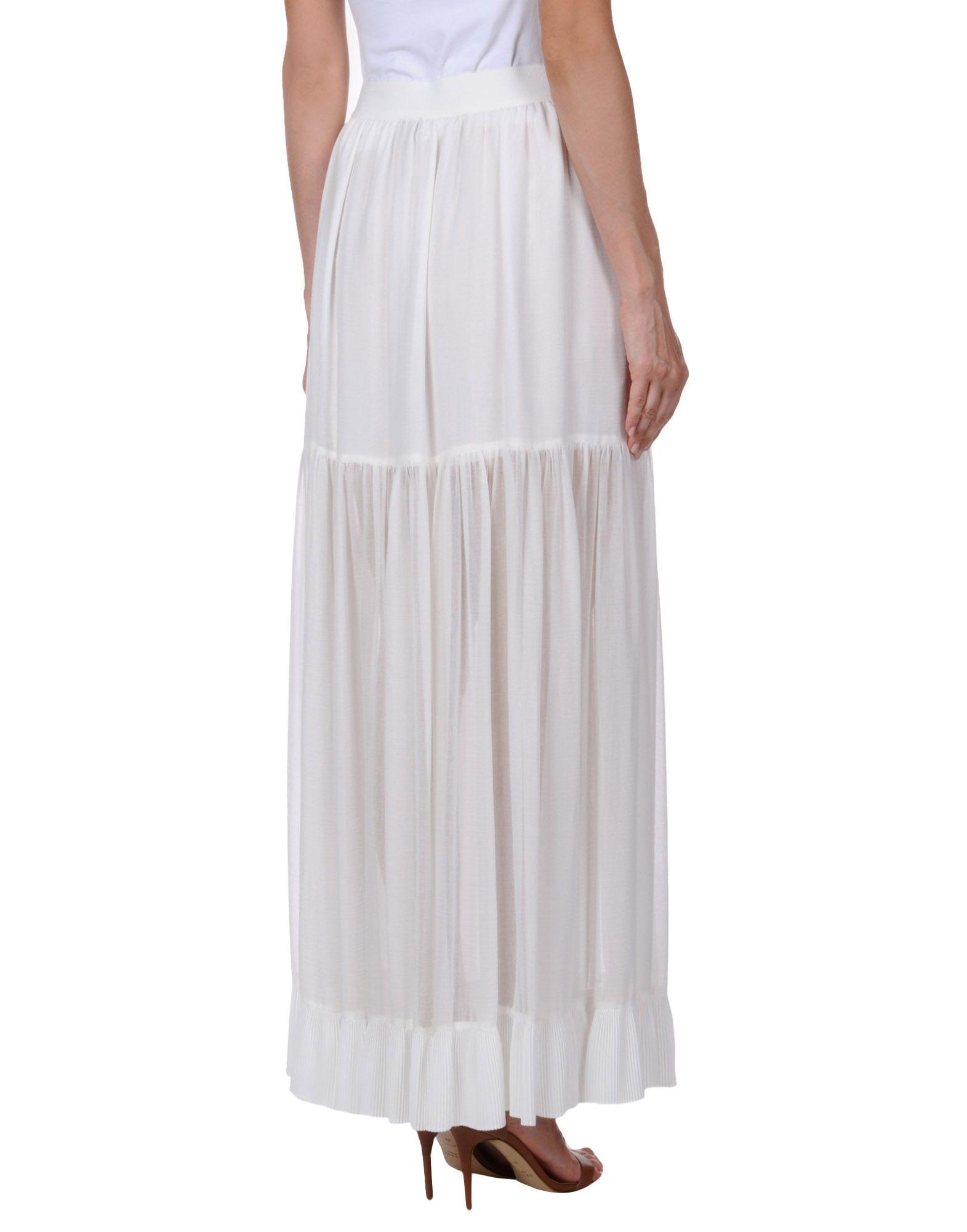 Pinko White Cotton Full Length Skirt