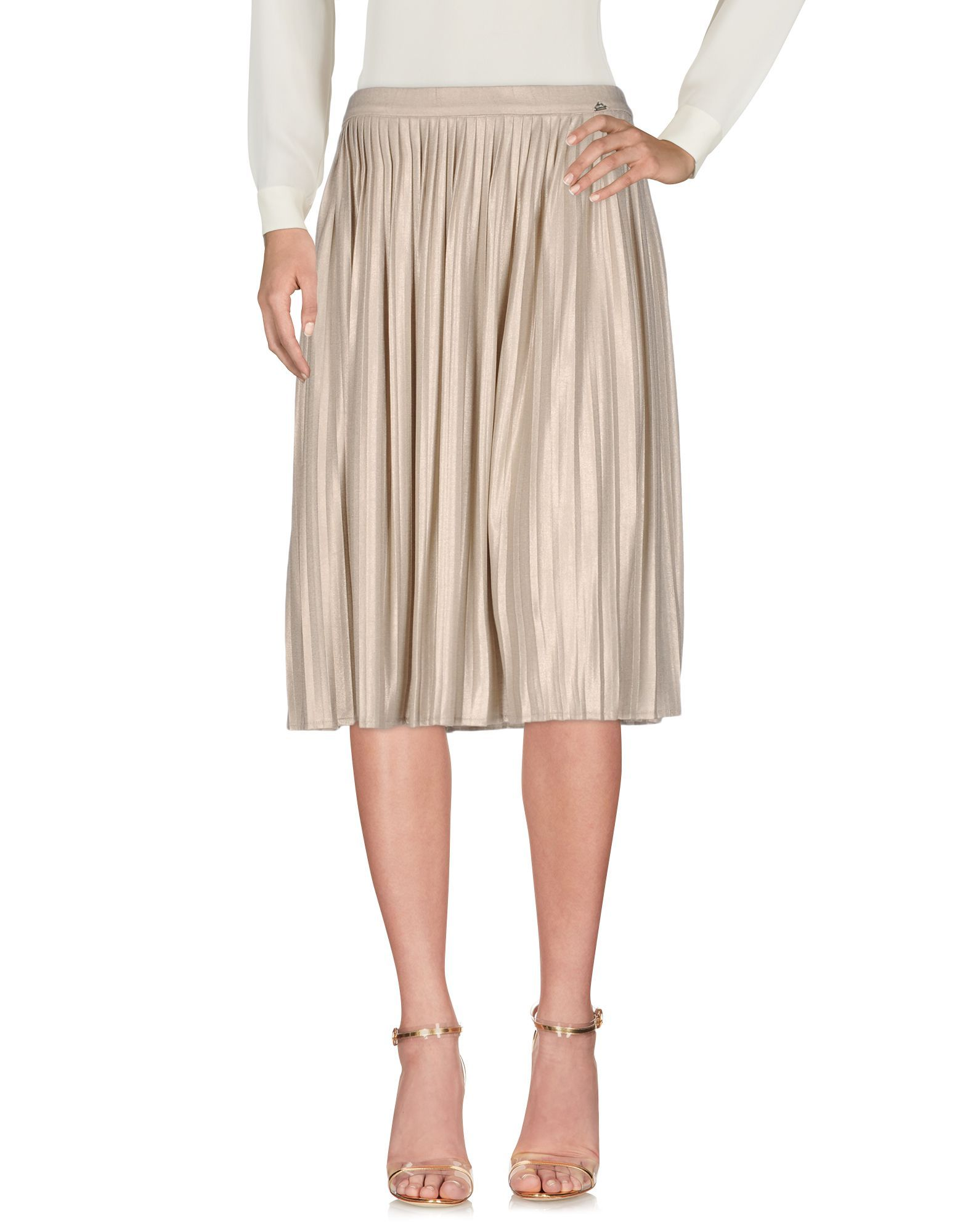 Liu Jo Beige Pleated Knee Length Skirt