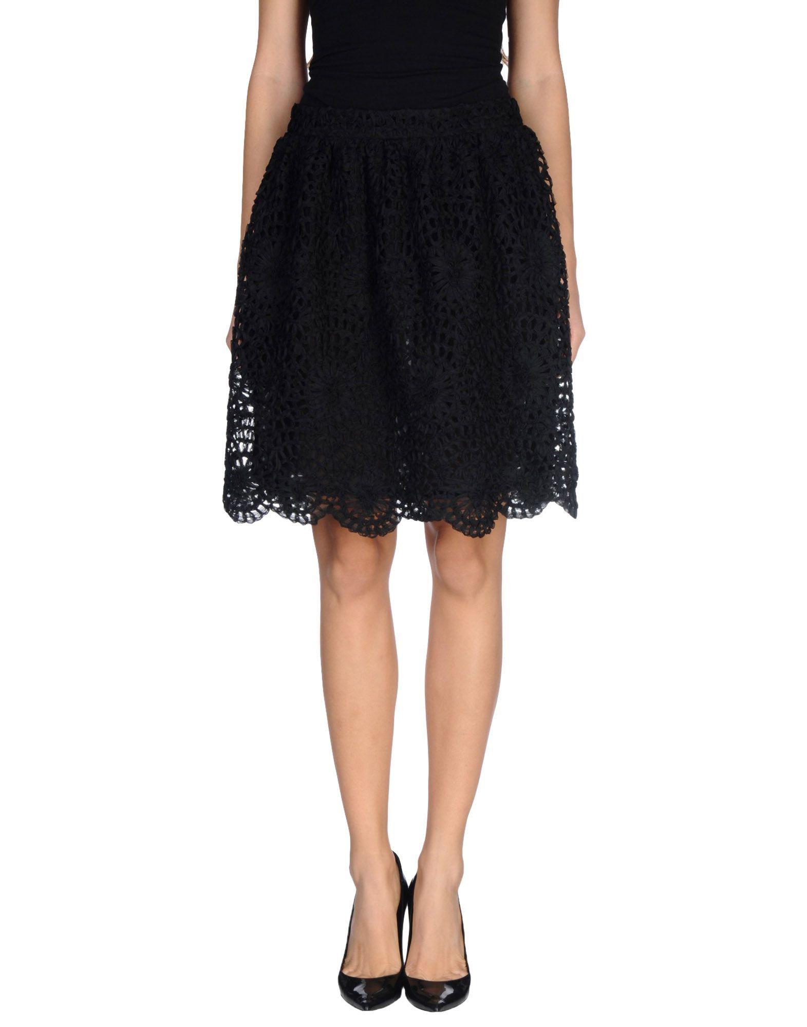 L' Autre Chose Black Knee Length Skirt