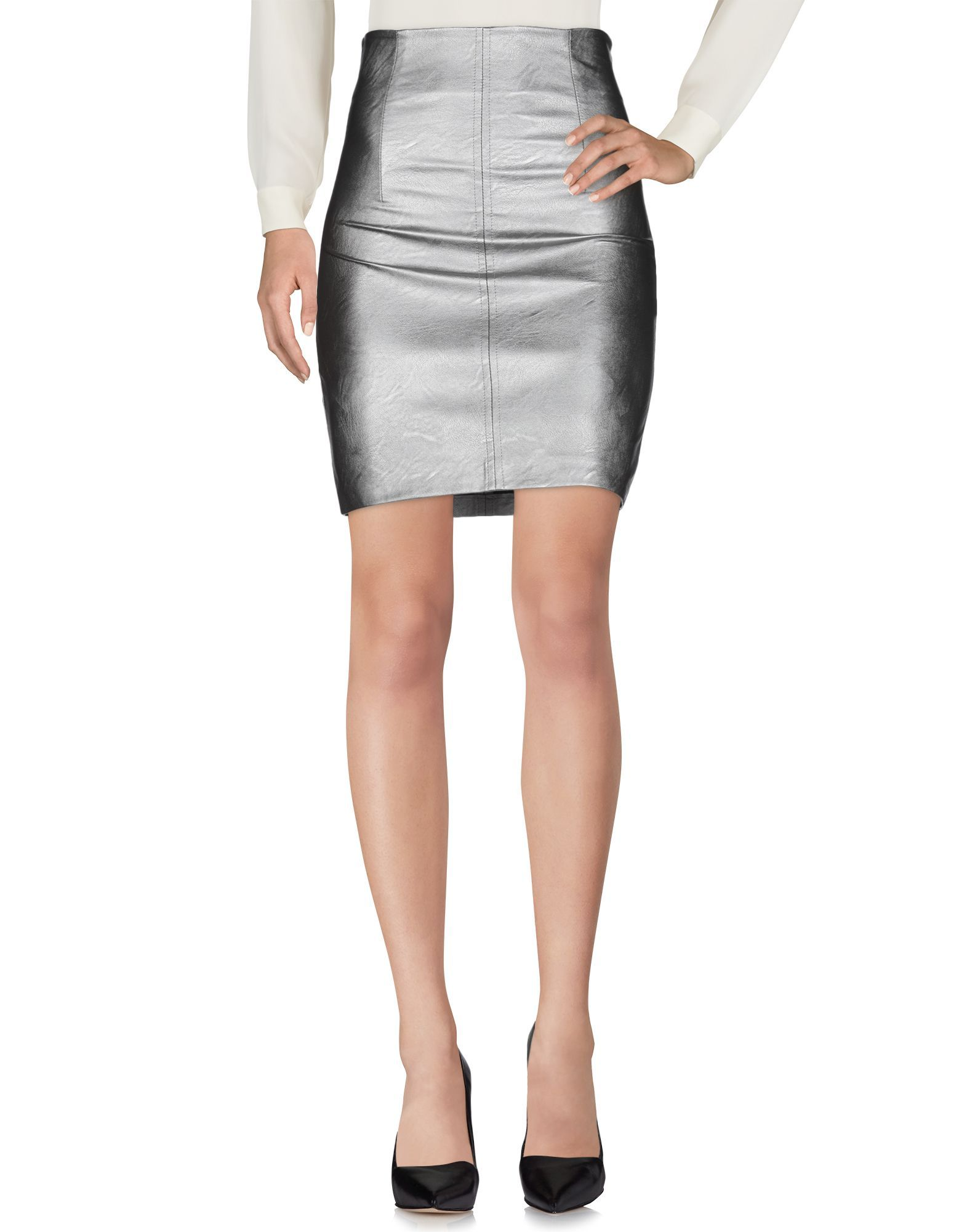 Kaos Jeans Grey Faux Leather Short Skirt