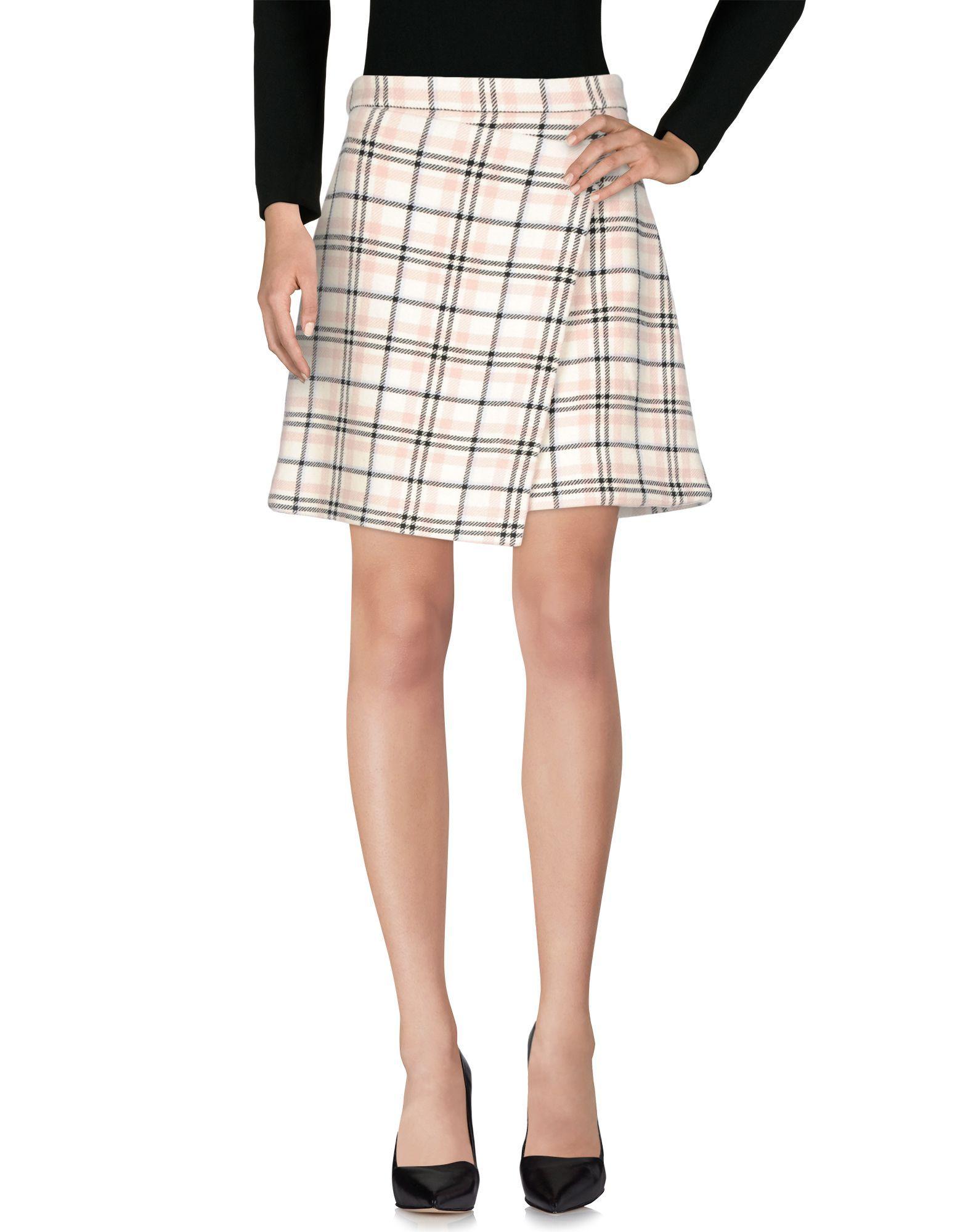 Carven Pastel Pink Plaid Wool Skirt
