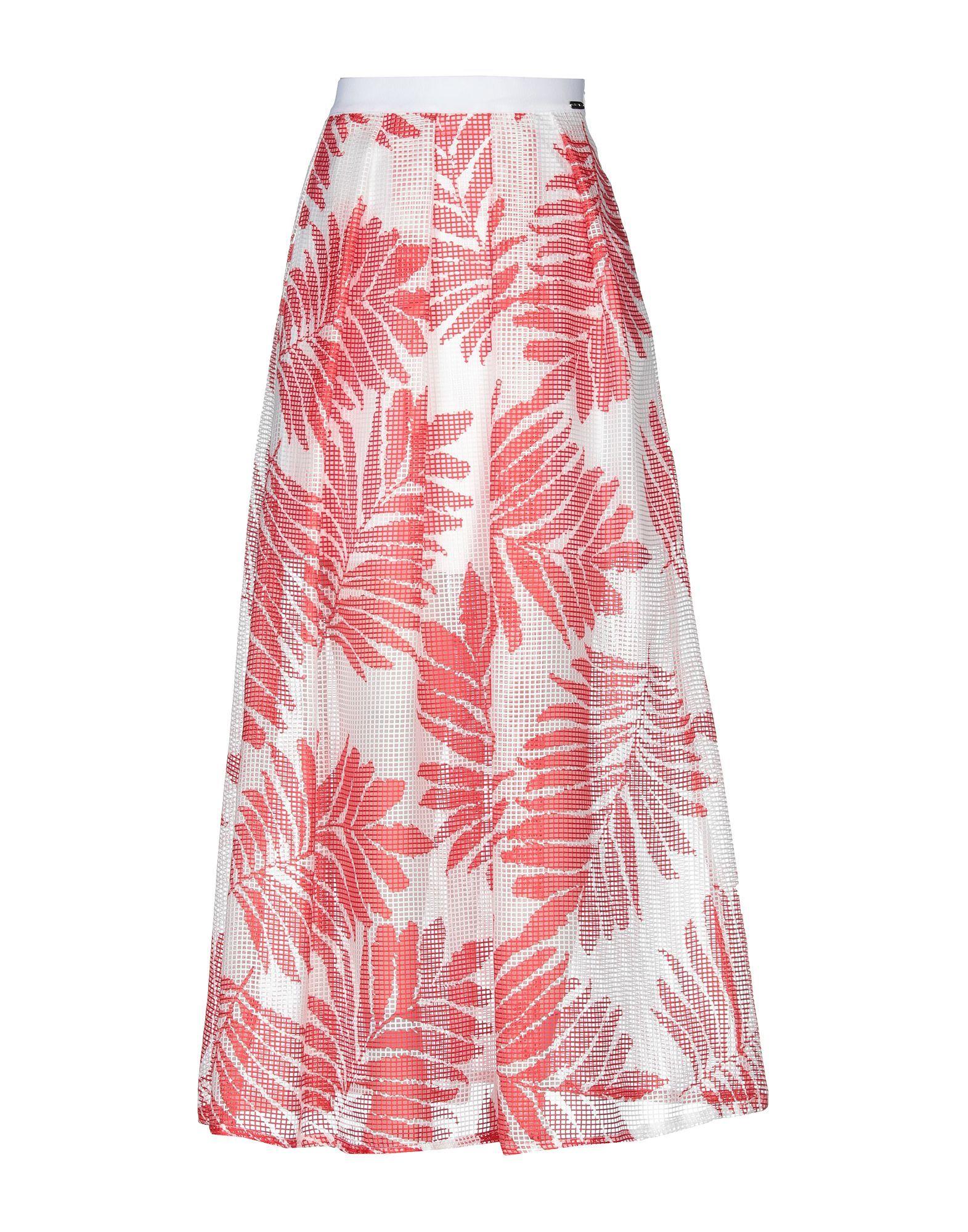 Cristinaeffe Red Print Full Length Skirt