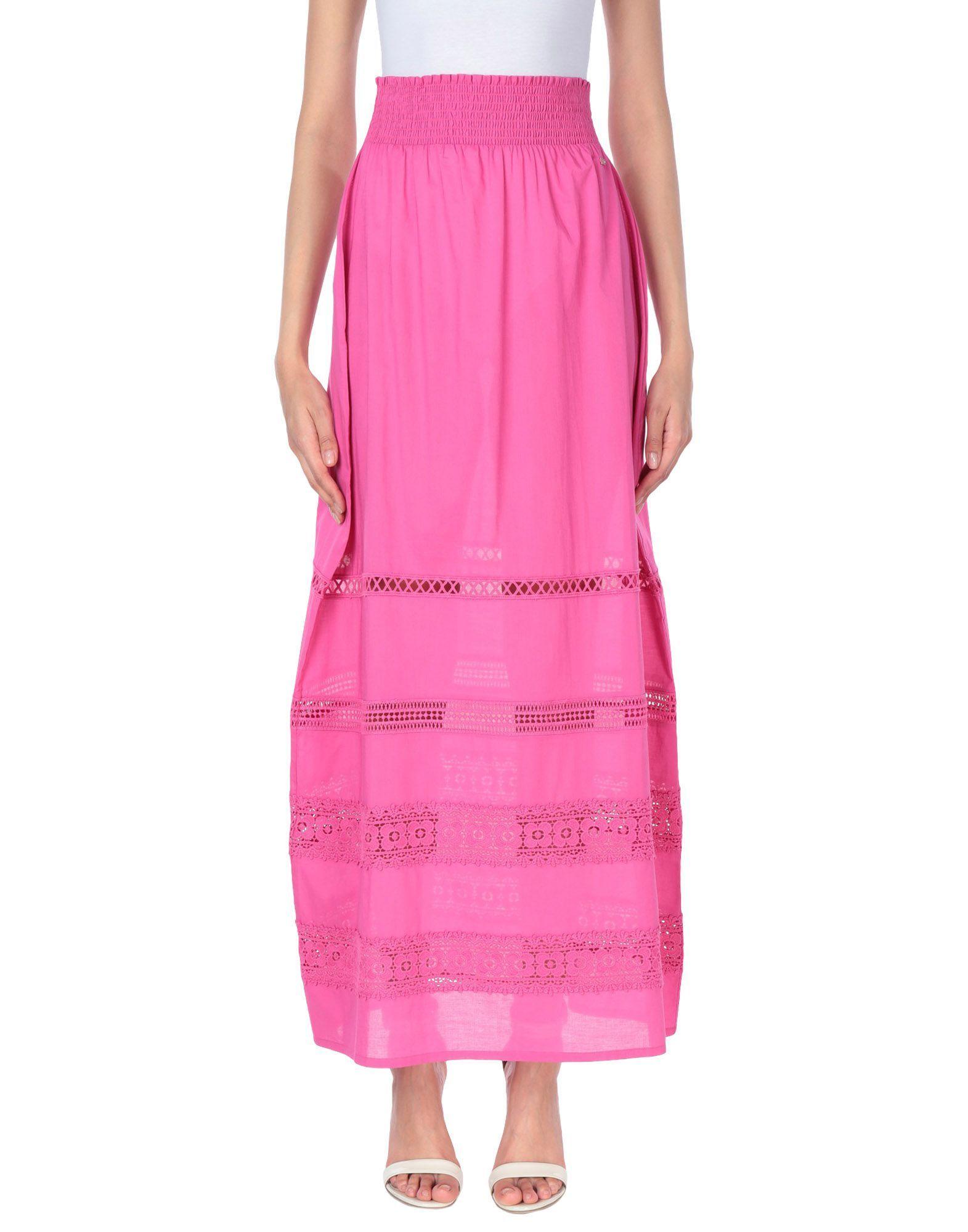 Liu Jo Fuchsia Cotton Full Length Skirt