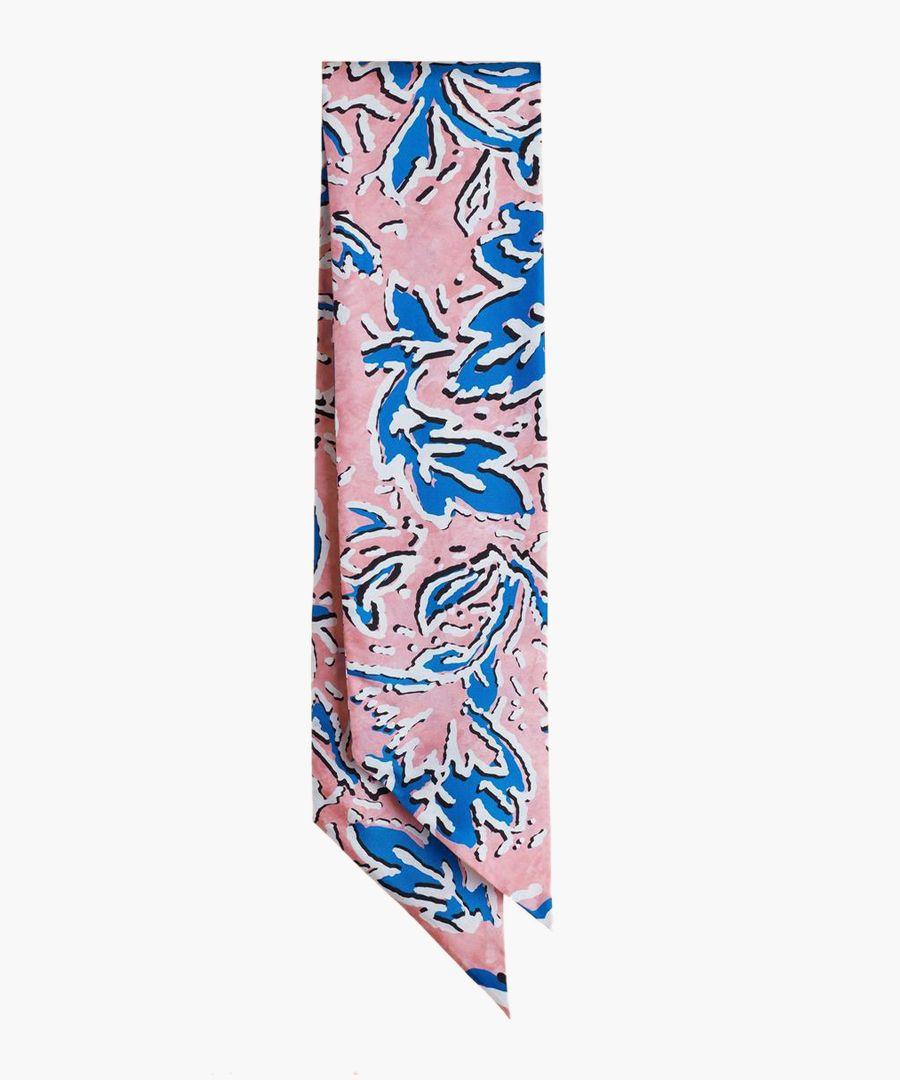 Multi-coloured silk blend slim scarf