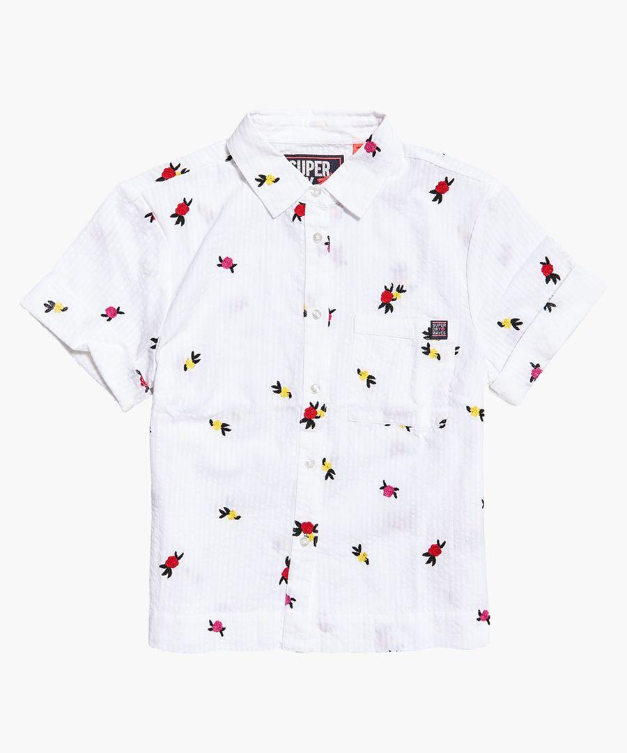 Kayla white cotton cropped boxy shirt