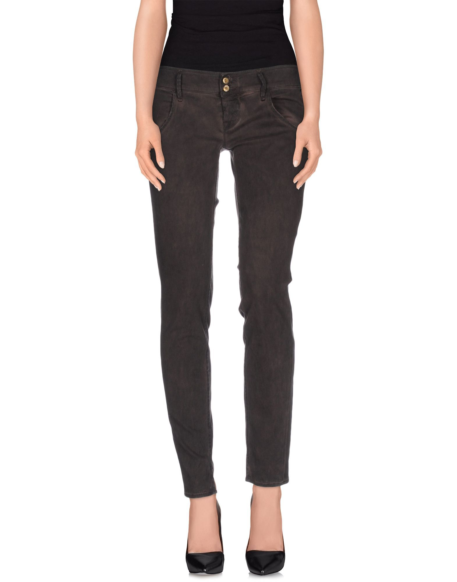 Cycle Dark Brown Cotton Tapered Leg Trousers