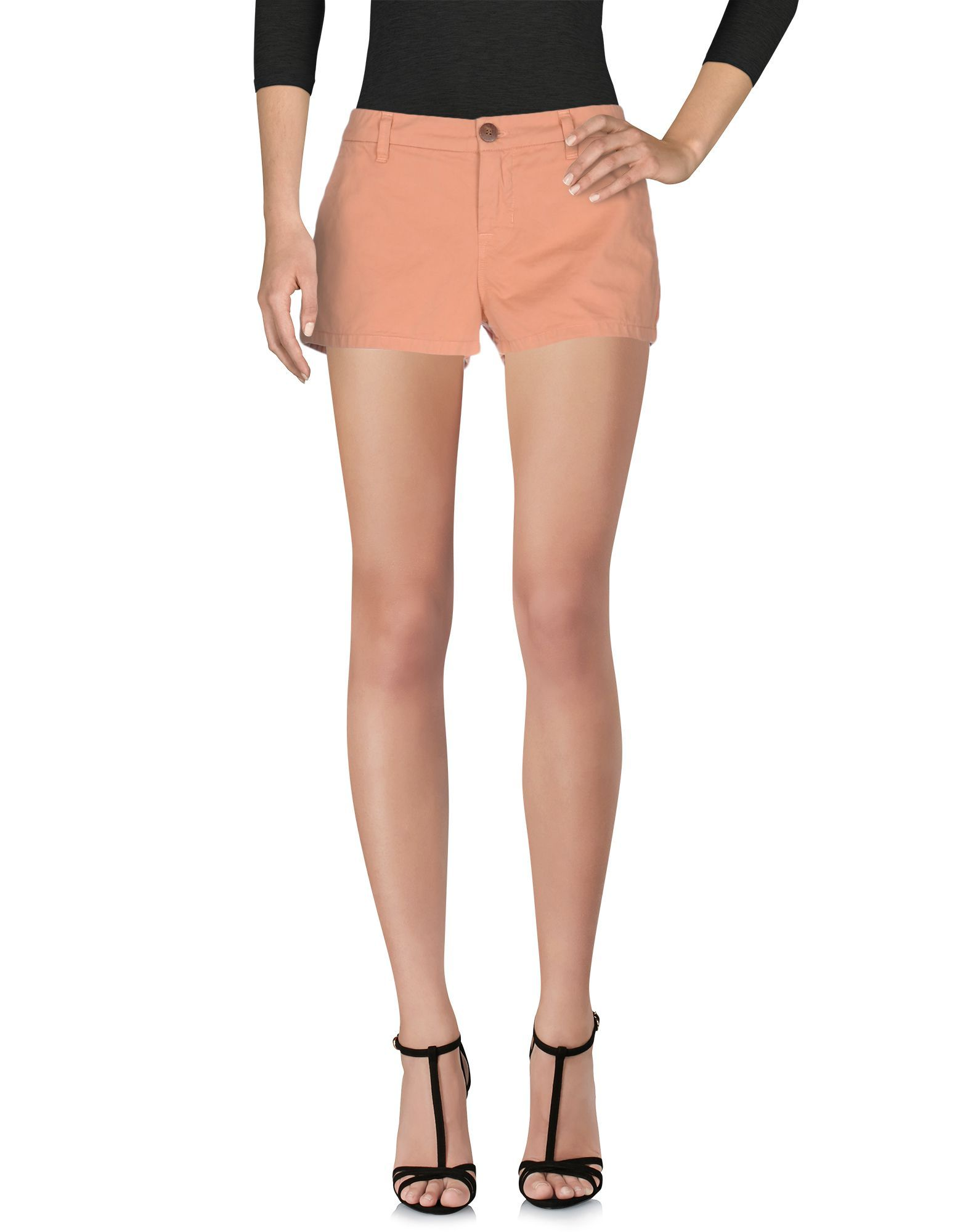 Salmon pink pure cotton twill mid-rise shorts