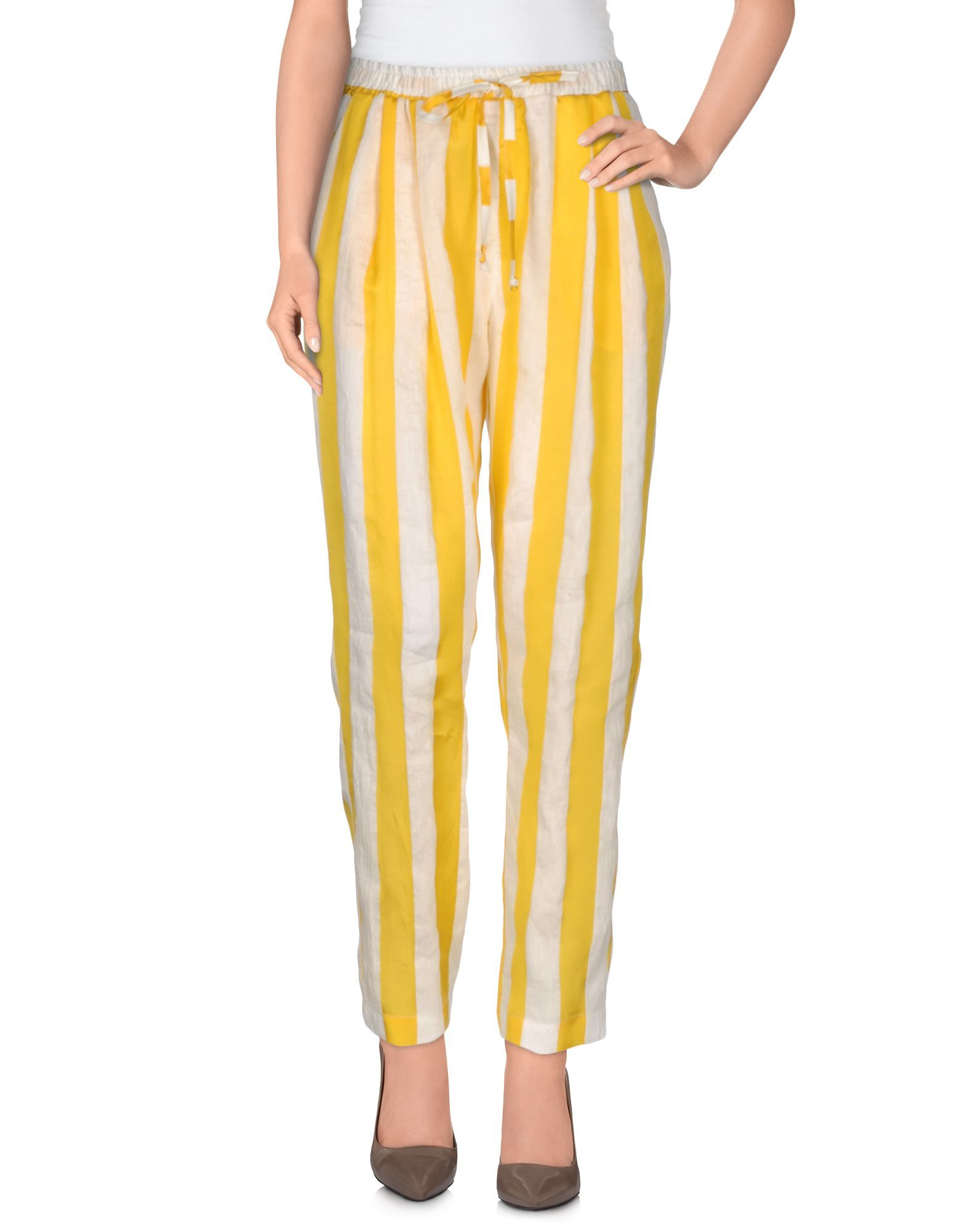 Yellow cotton and linen trousers