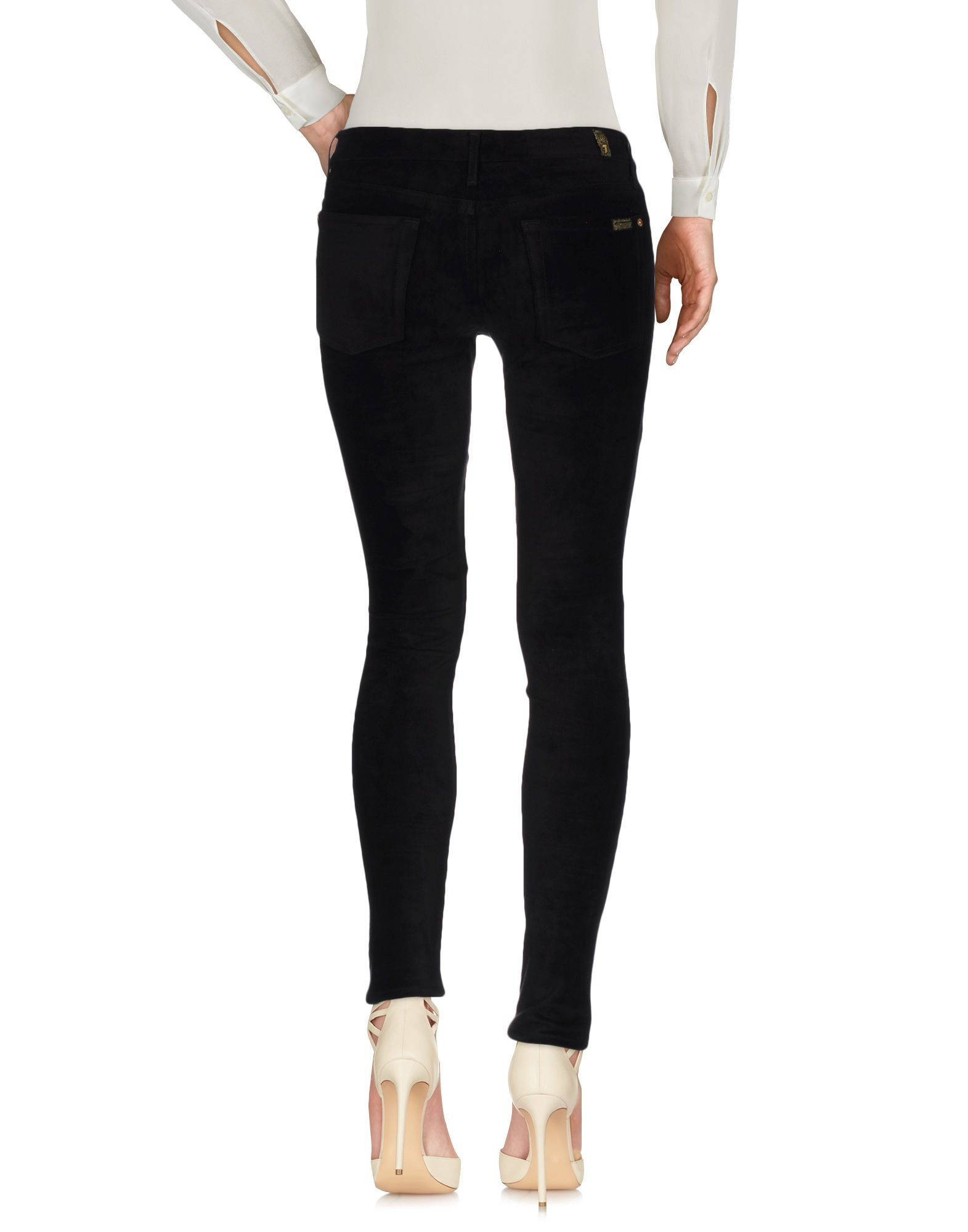 7 For All Mankind Black Mid Rise Slim Fit Trousers