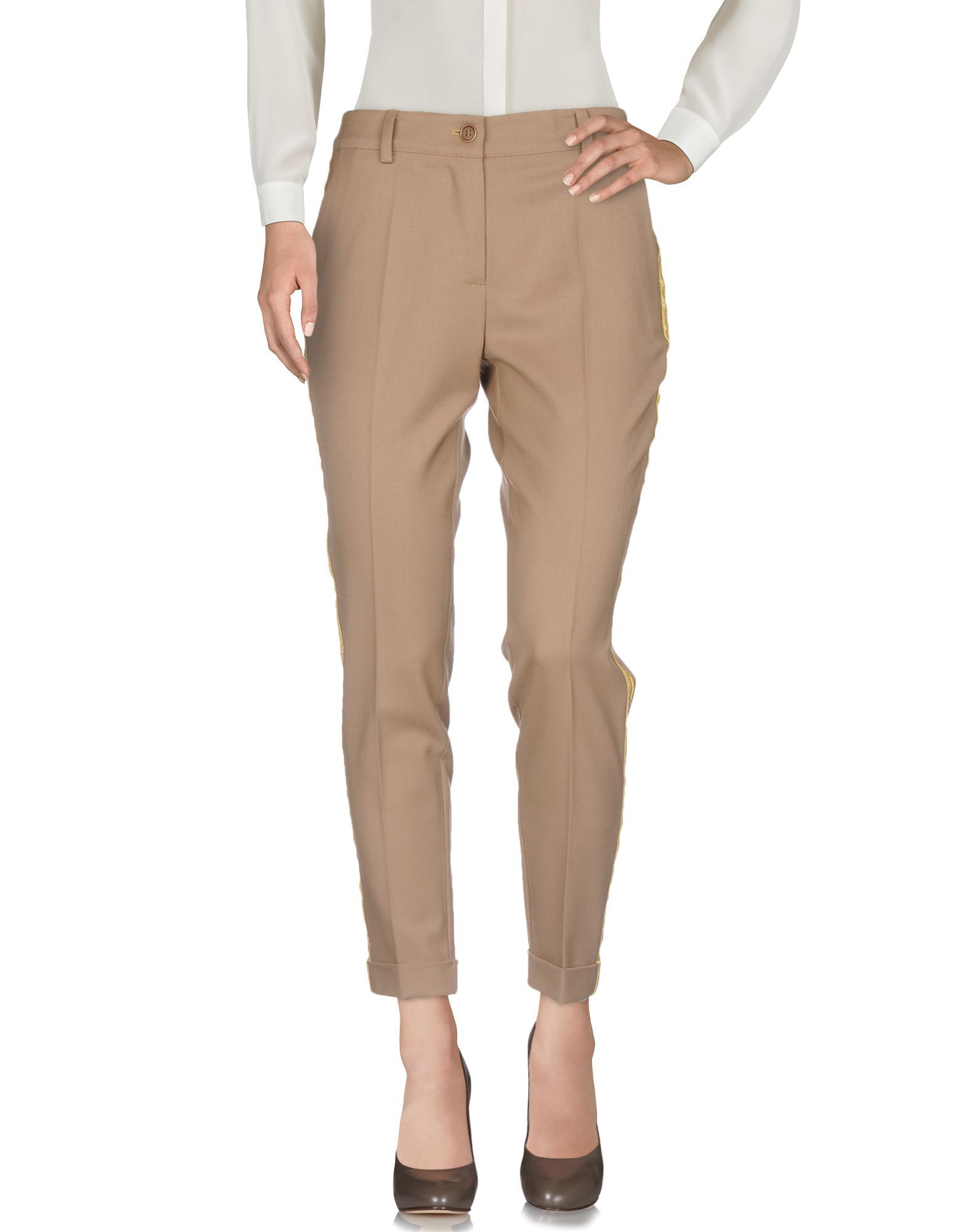P.A.R.O.S.H. Camel Virgin Wool Tailored Trousers