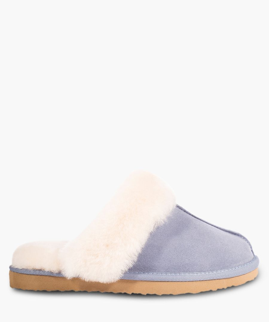 Blue suede sheepskin slippers
