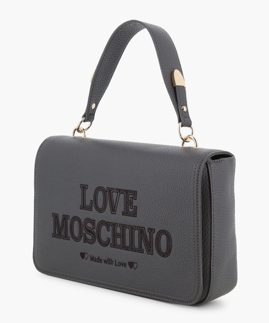 Grey faux-leather grab bag