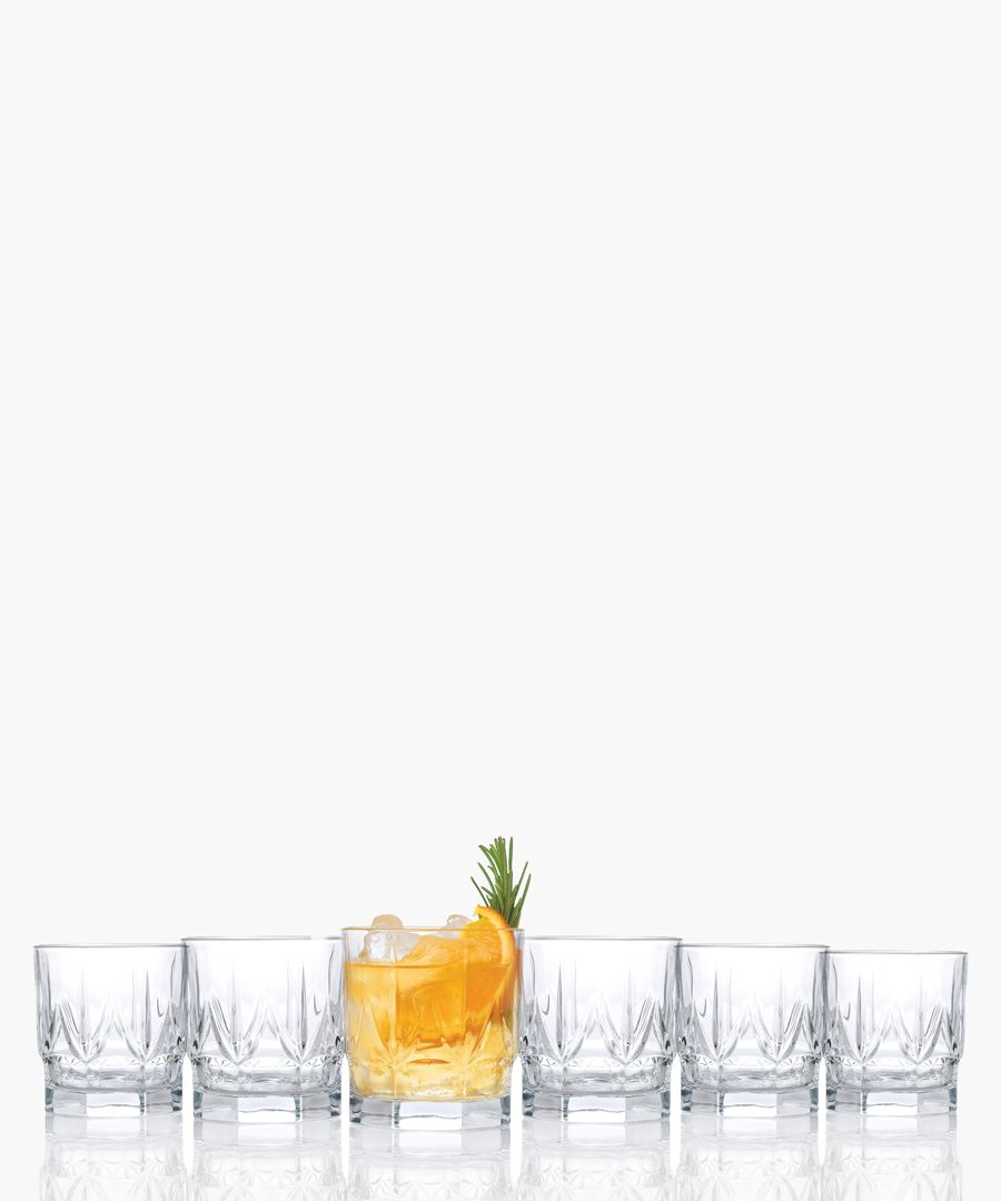 6pc Chic Luxion Crystal whisky tumbler glasses 350ml