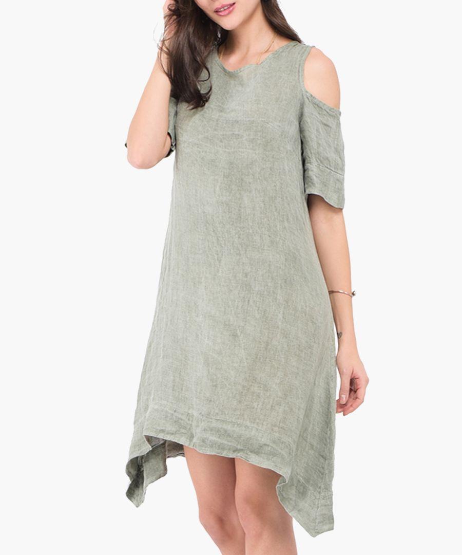 Khaki pure linen mini dress