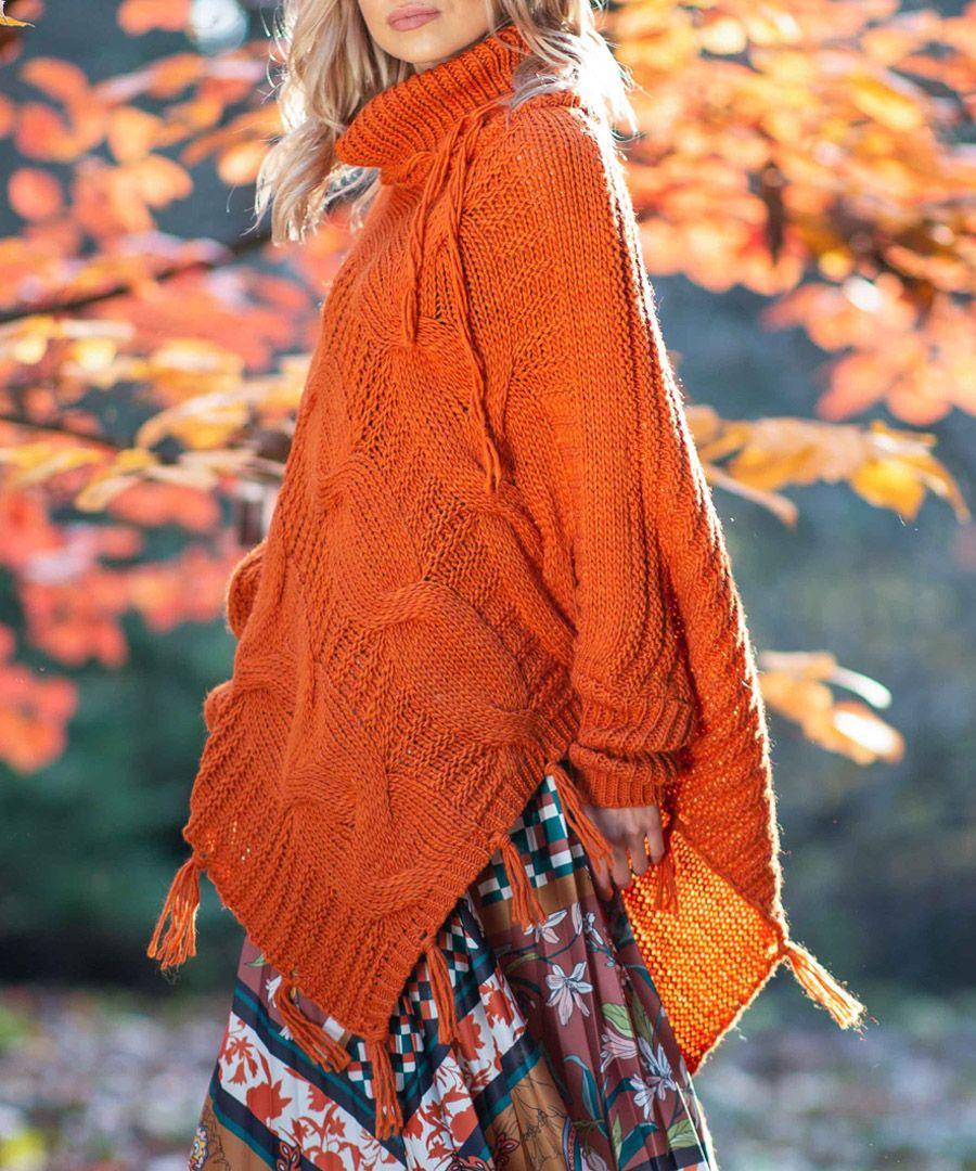 Orange knitted alpaca and wool blend poncho