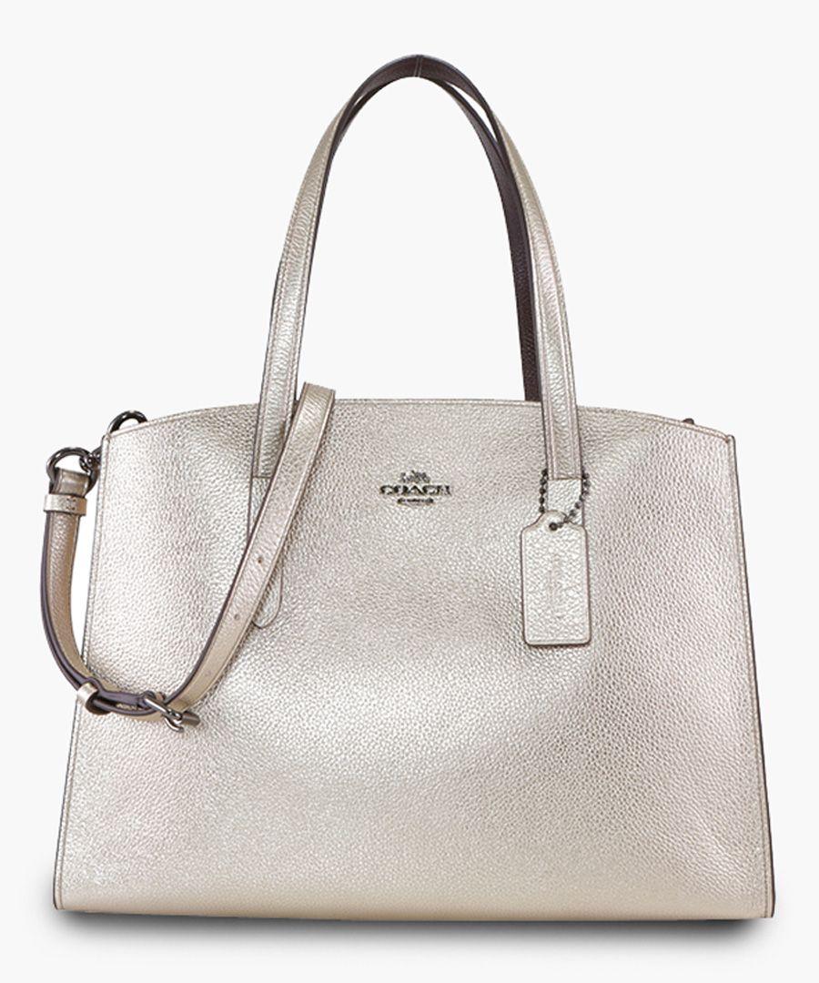 Platinum-tone leather shoulder bag