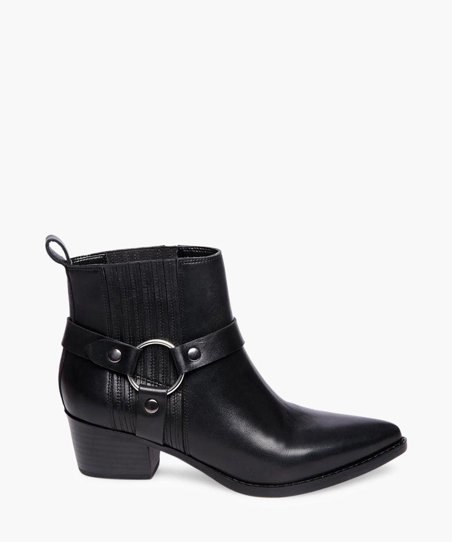 Powerful black leather biker boots