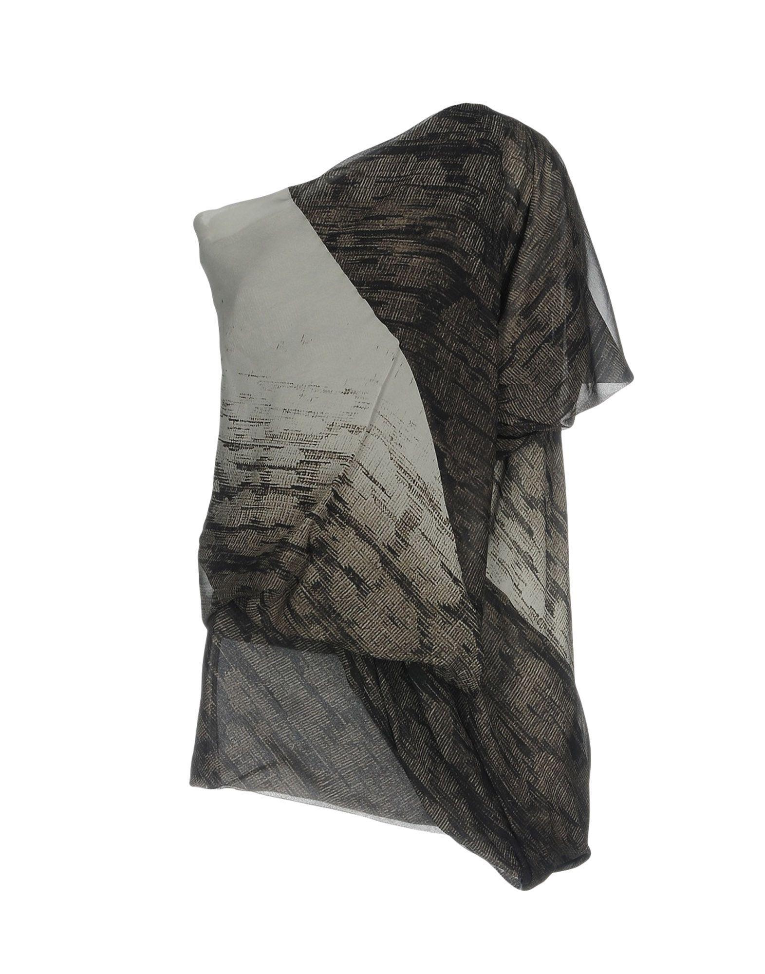 Rick Owens Grey Silk Bluse