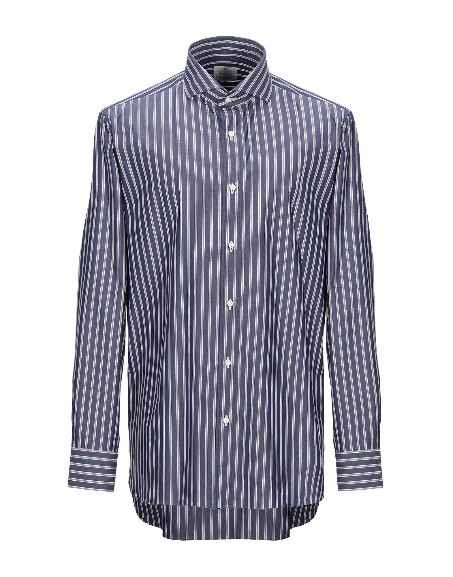 Luigi Borrelli Napoli Blue Stripe Cotton Shirt