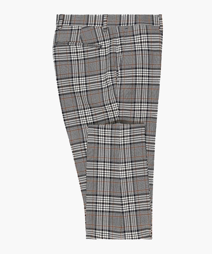 Grey check slim suit trousers