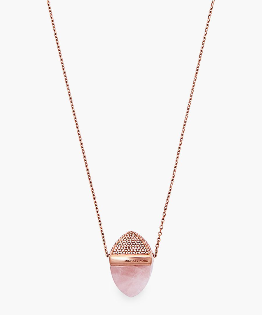 Rose gold-plated stainless steel and cubic zircona pendant
