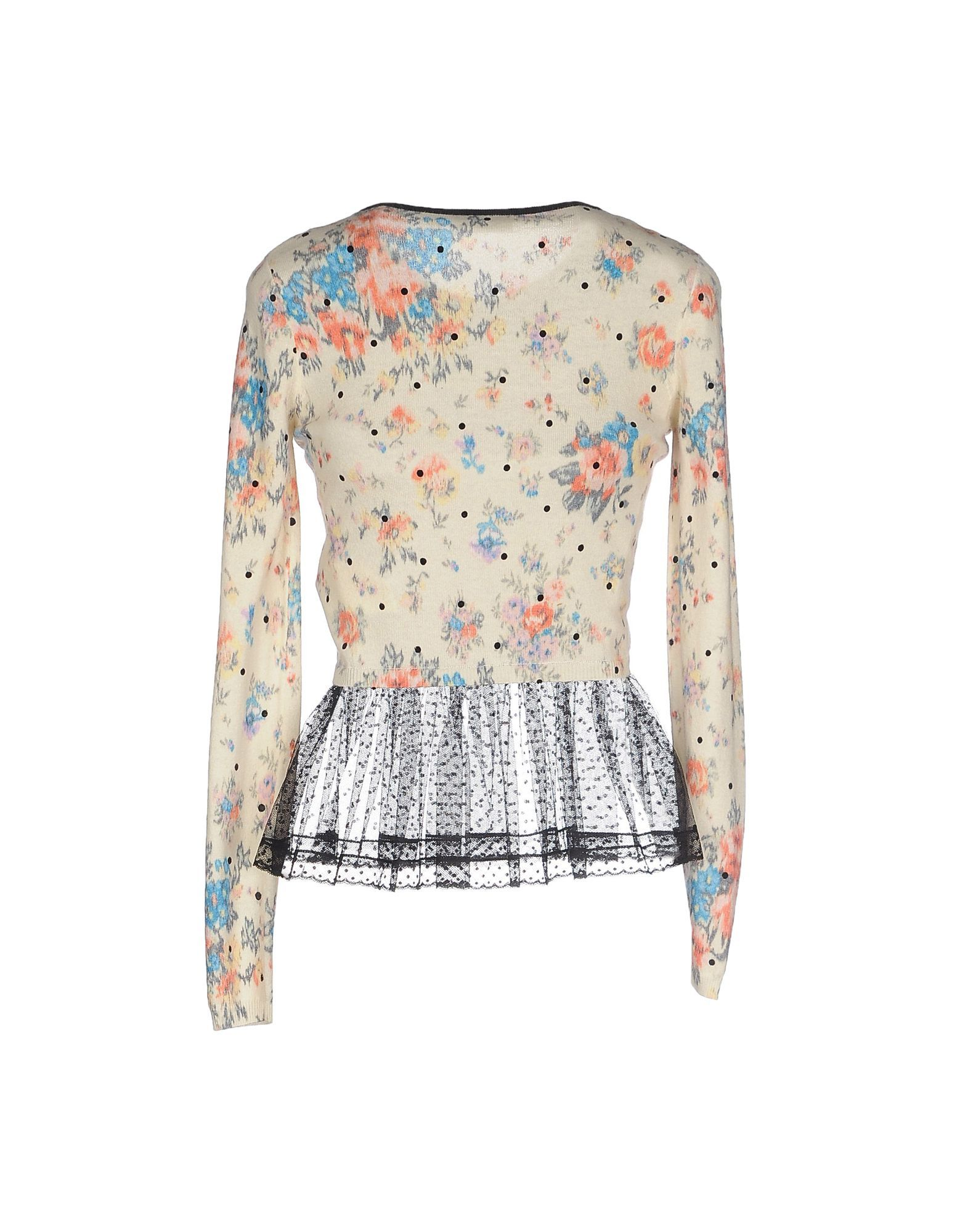 Redvalentino Beige Floral Print Knit Jumper With Tulle