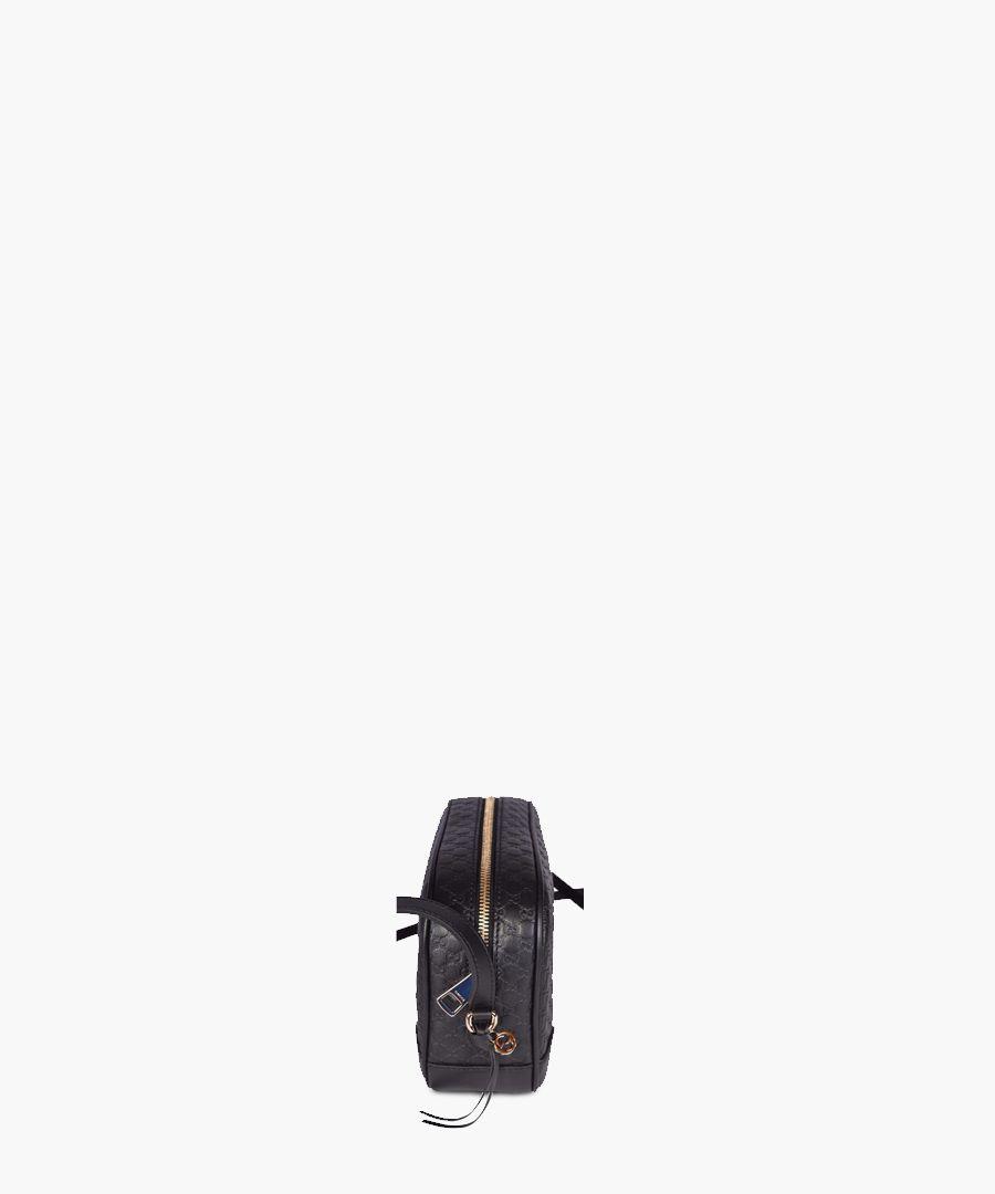 Guccissima black leather camera bag