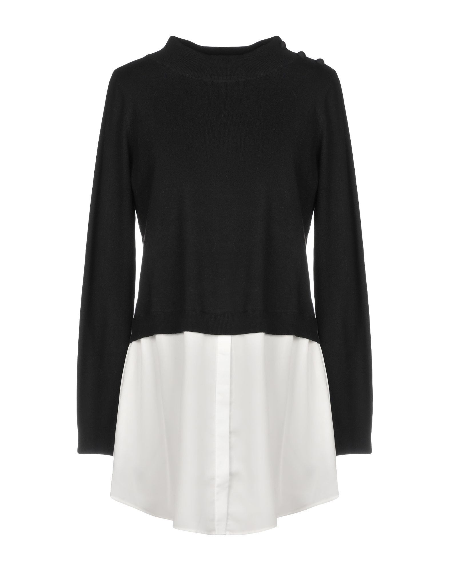 Scee By Twinset Black Cotton Jumper With Satin Insert
