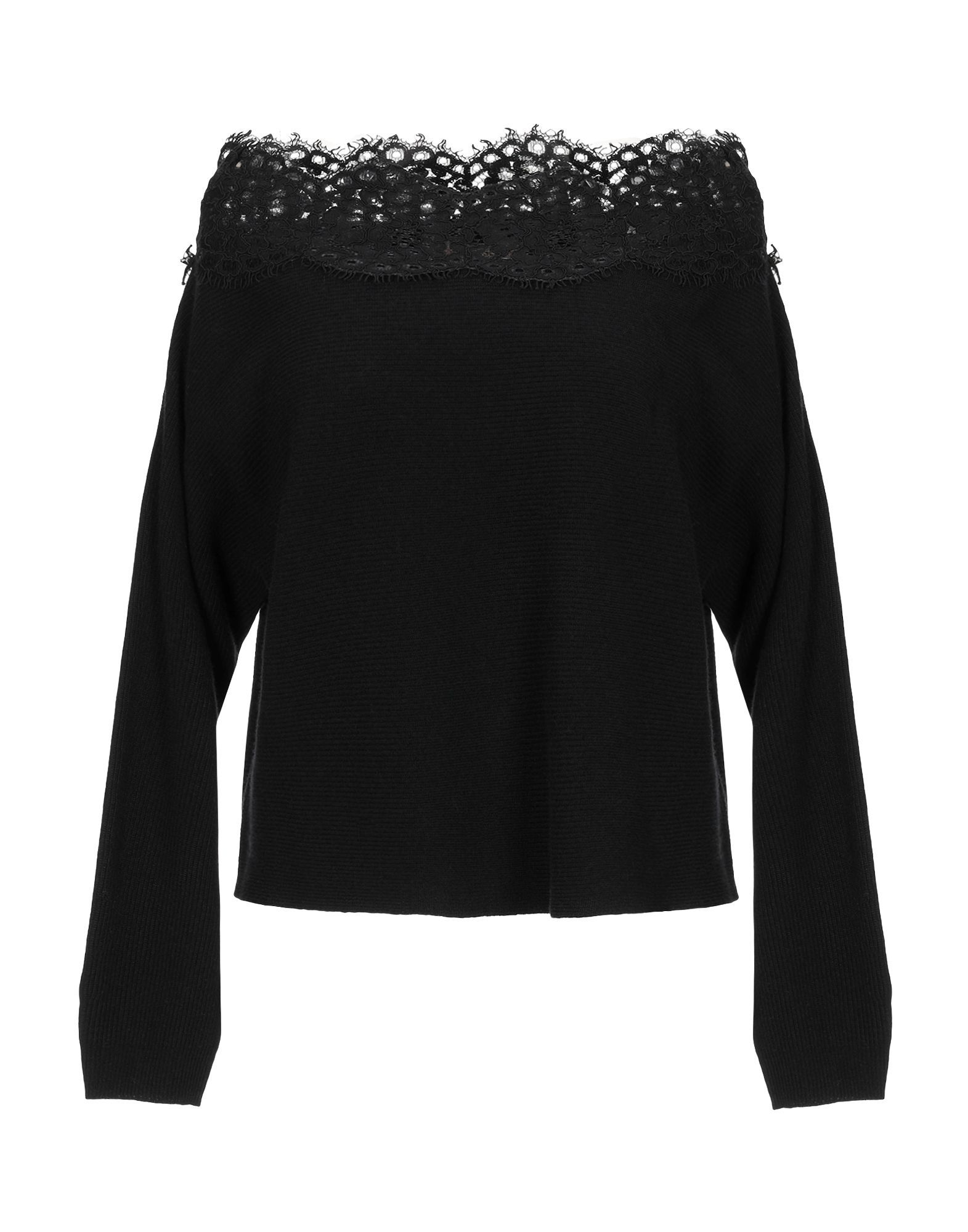 Twinset Black Wool And Lace Knit