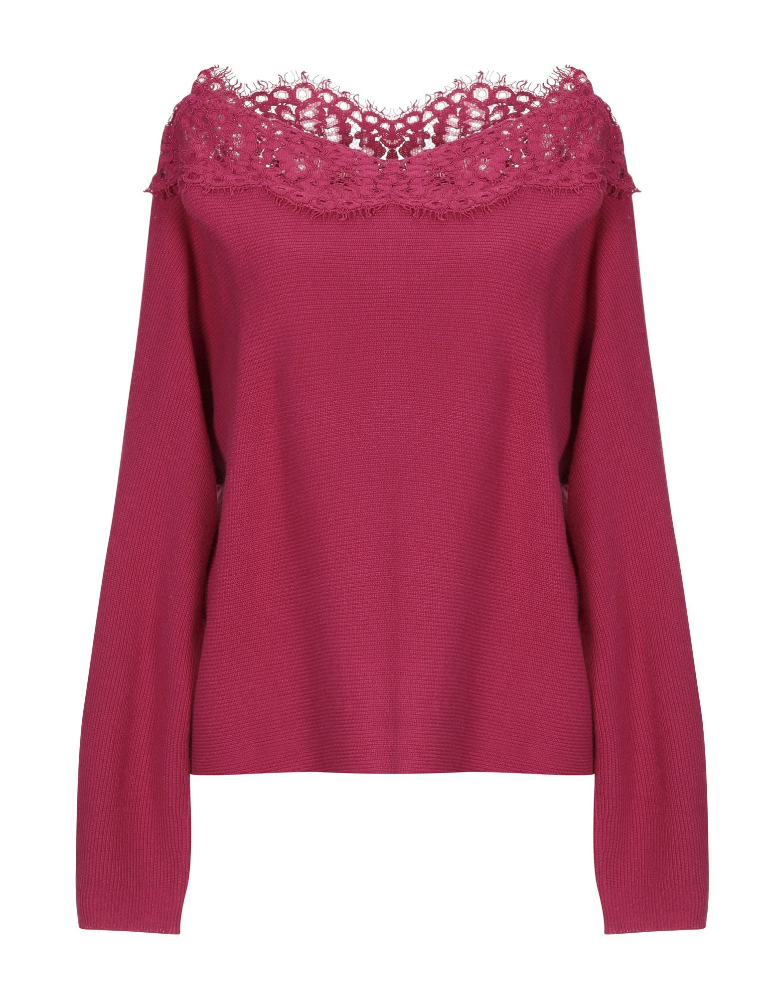 Twinset Fuchsia Wool And Lace Jumper