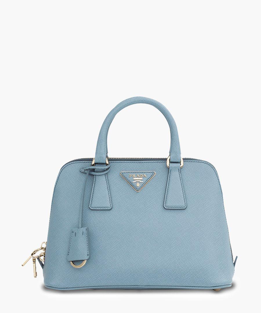 Pale blue leather mini grab bag