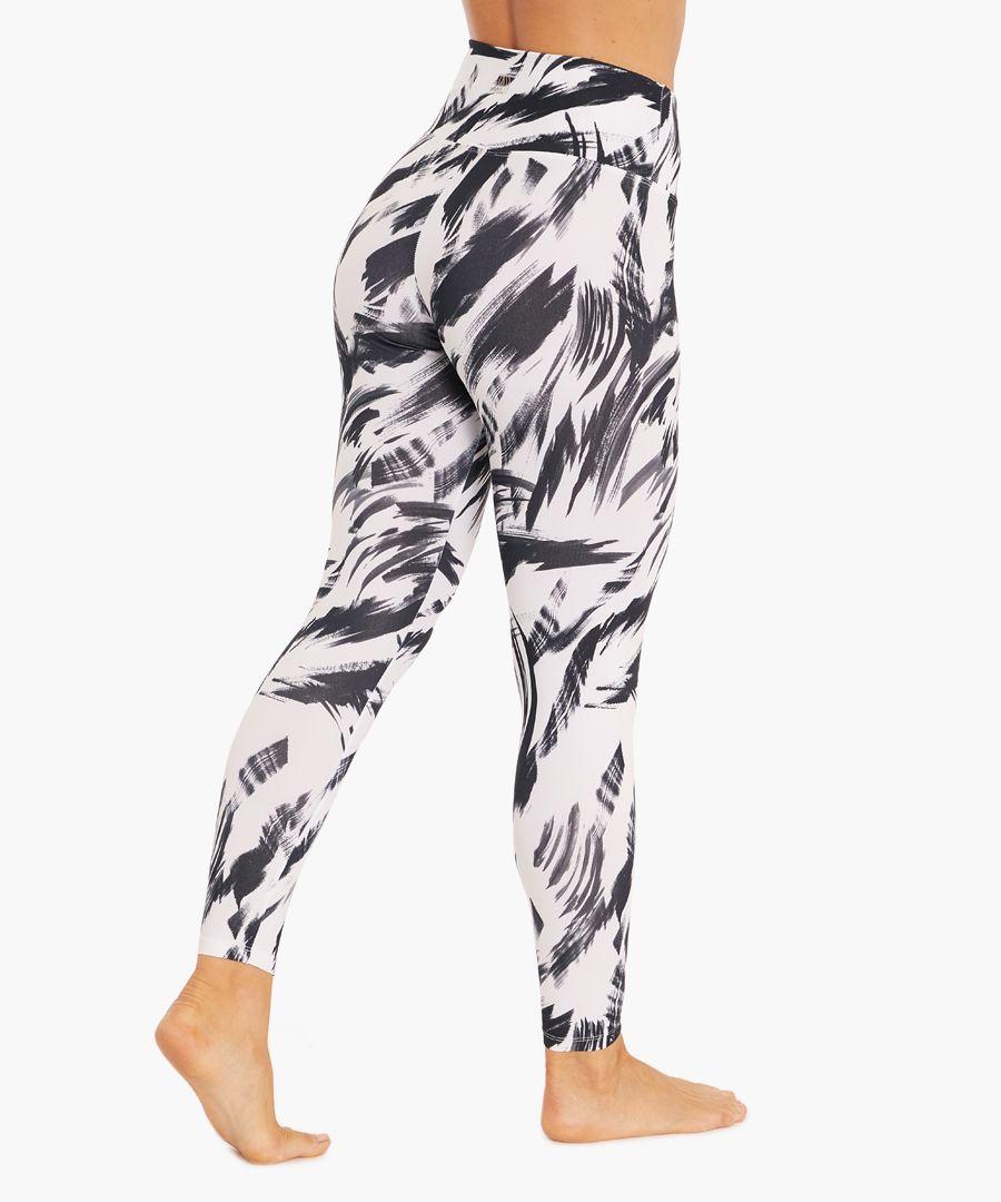 Black brush print leggings