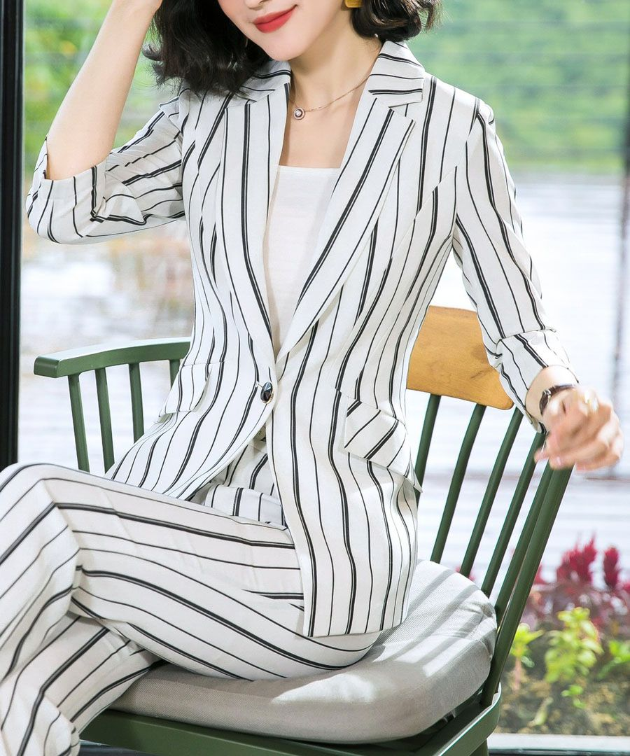 2pc White stripe suit set