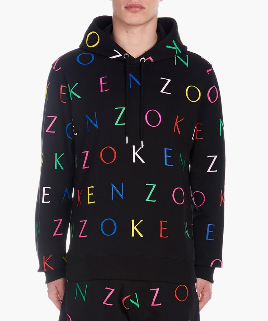 Black pure cotton letter hoodie