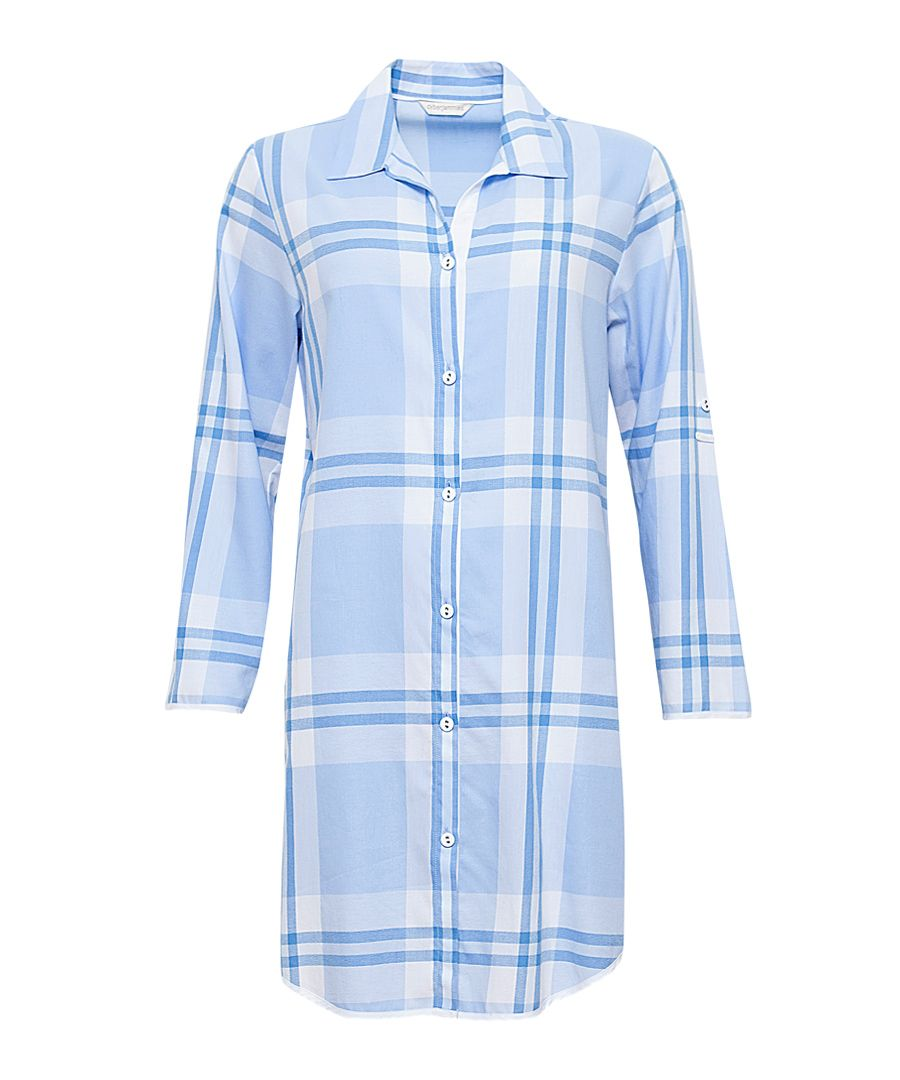 Amelia blue cotton checked nightdress