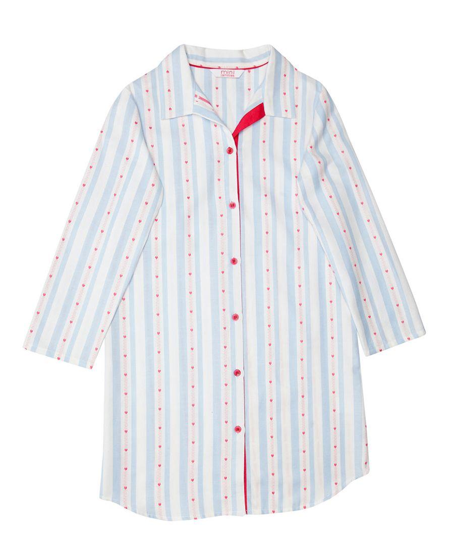 Matilda blue cotton heart print pyjama shirt