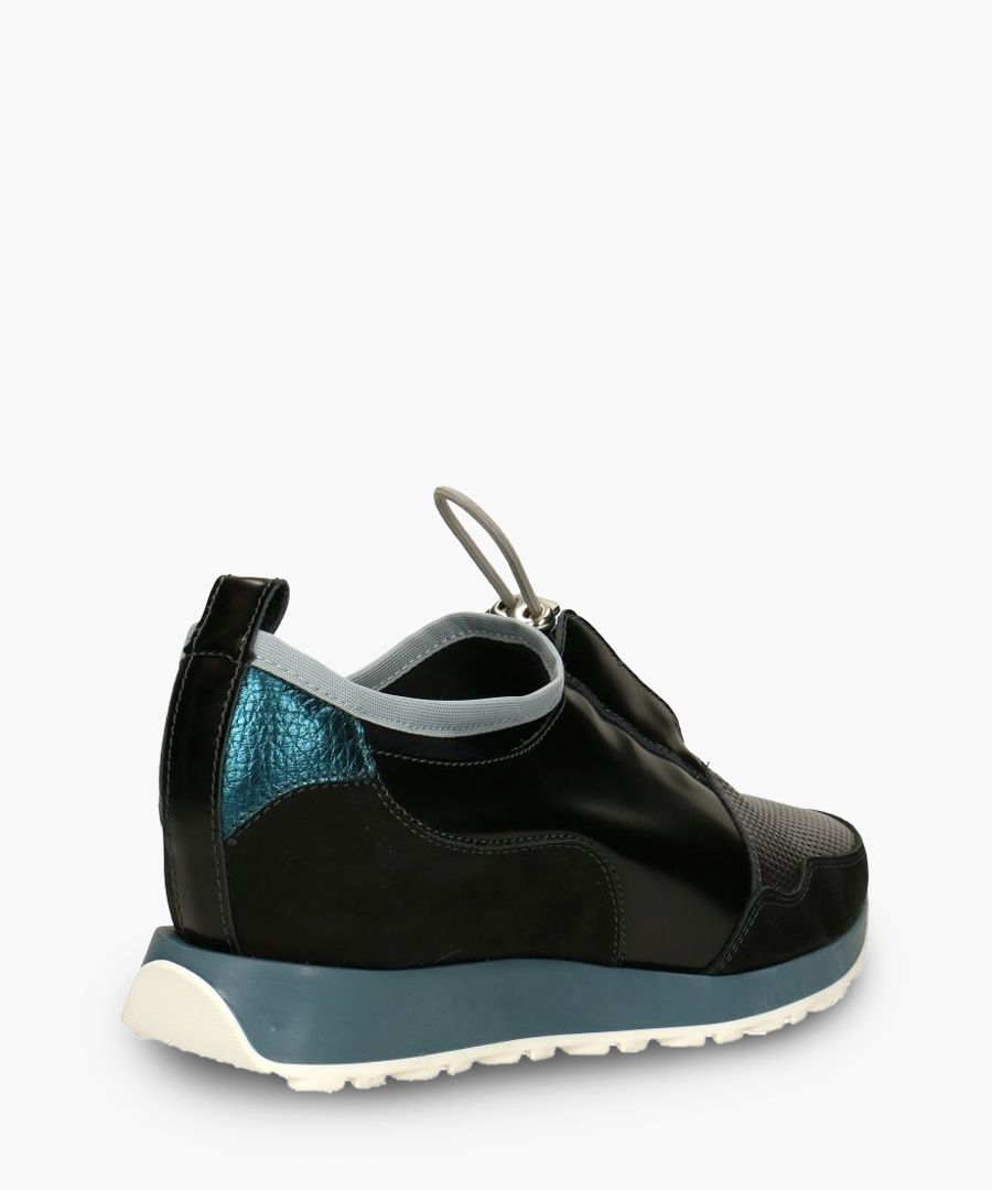 Black & grey leather panel sneakers