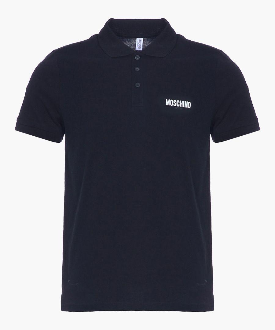 Black pure cotton pique polo shirt