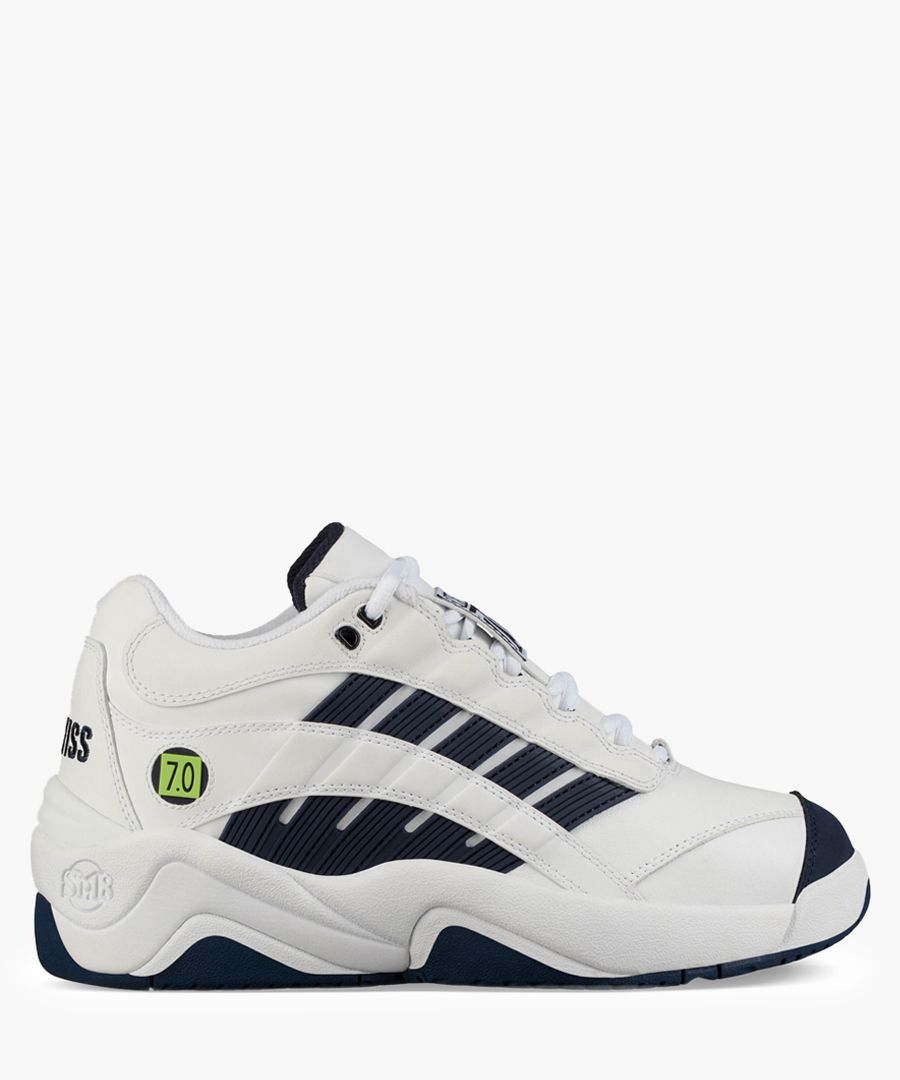 SI-Defier 7.0 white and navy trainers