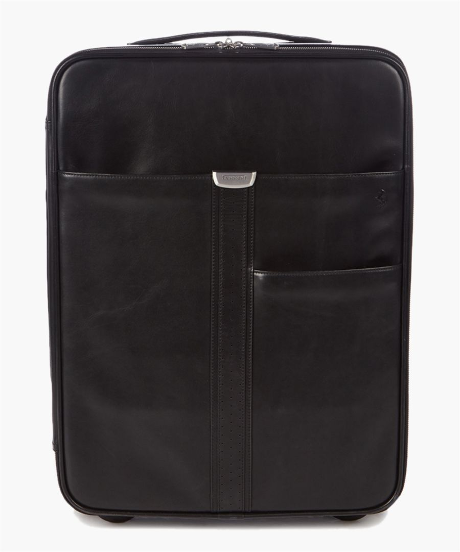 black leather cabin suitcase 57cm