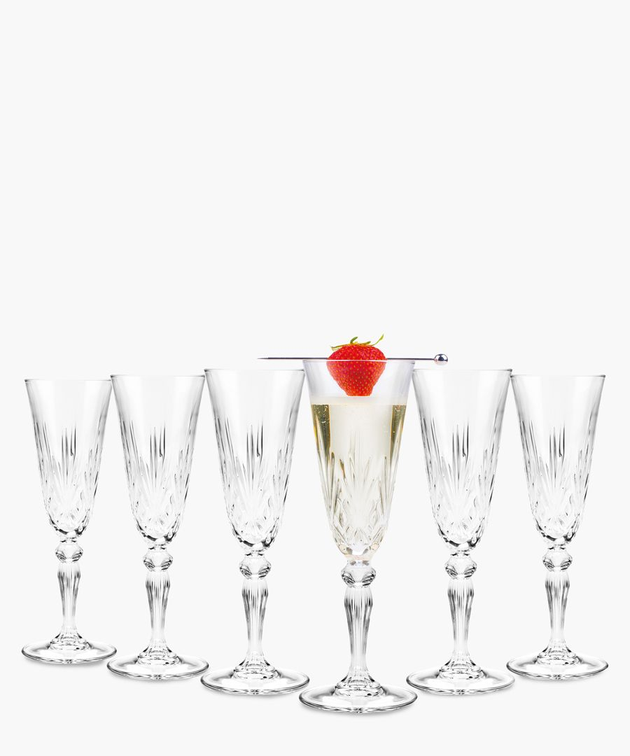 6pc Melodia Crystal champagne flutes glasses 160ml