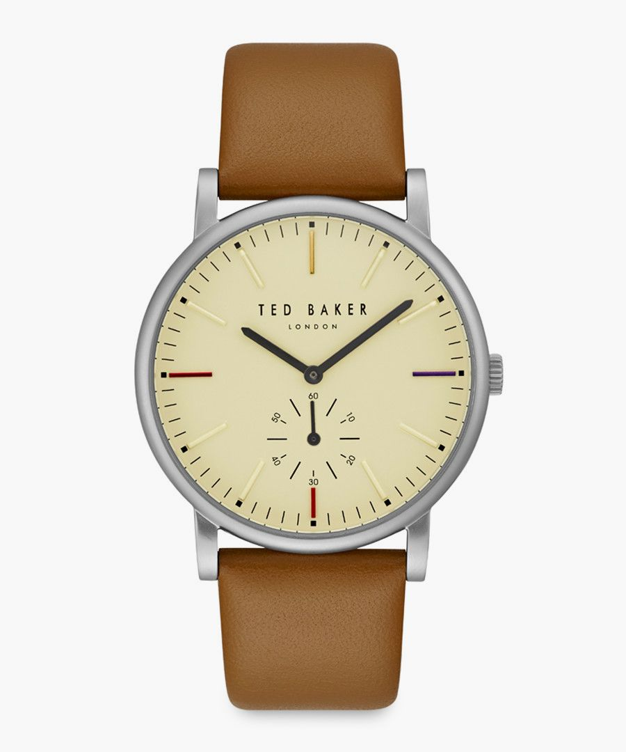 Nolan brown leather and stainless steel watch