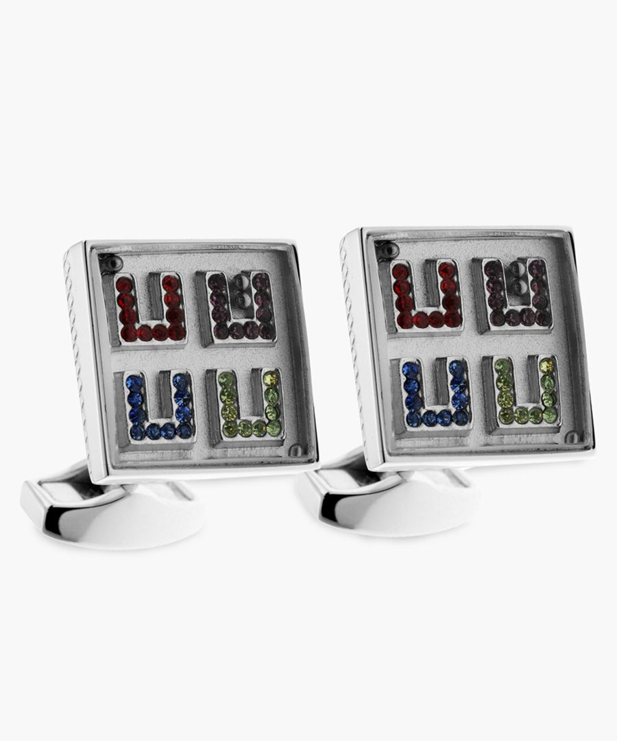 Maze Square rhodium and swarovski crystals cufflinks