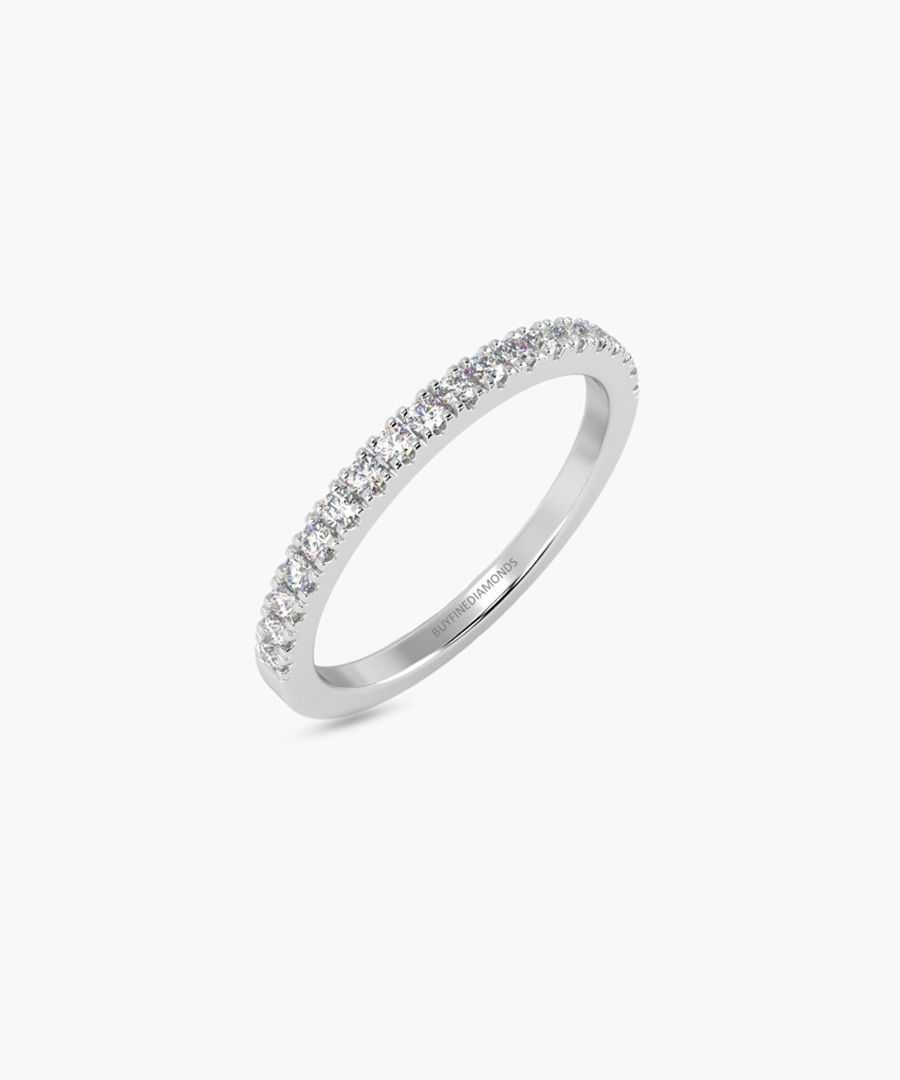 9k white gold half eternity ring