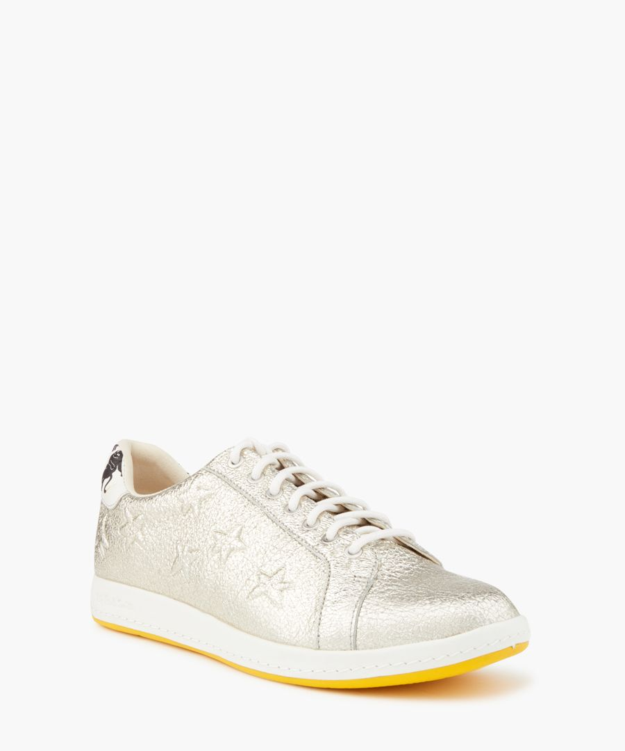 Silver leather star printed sneakers