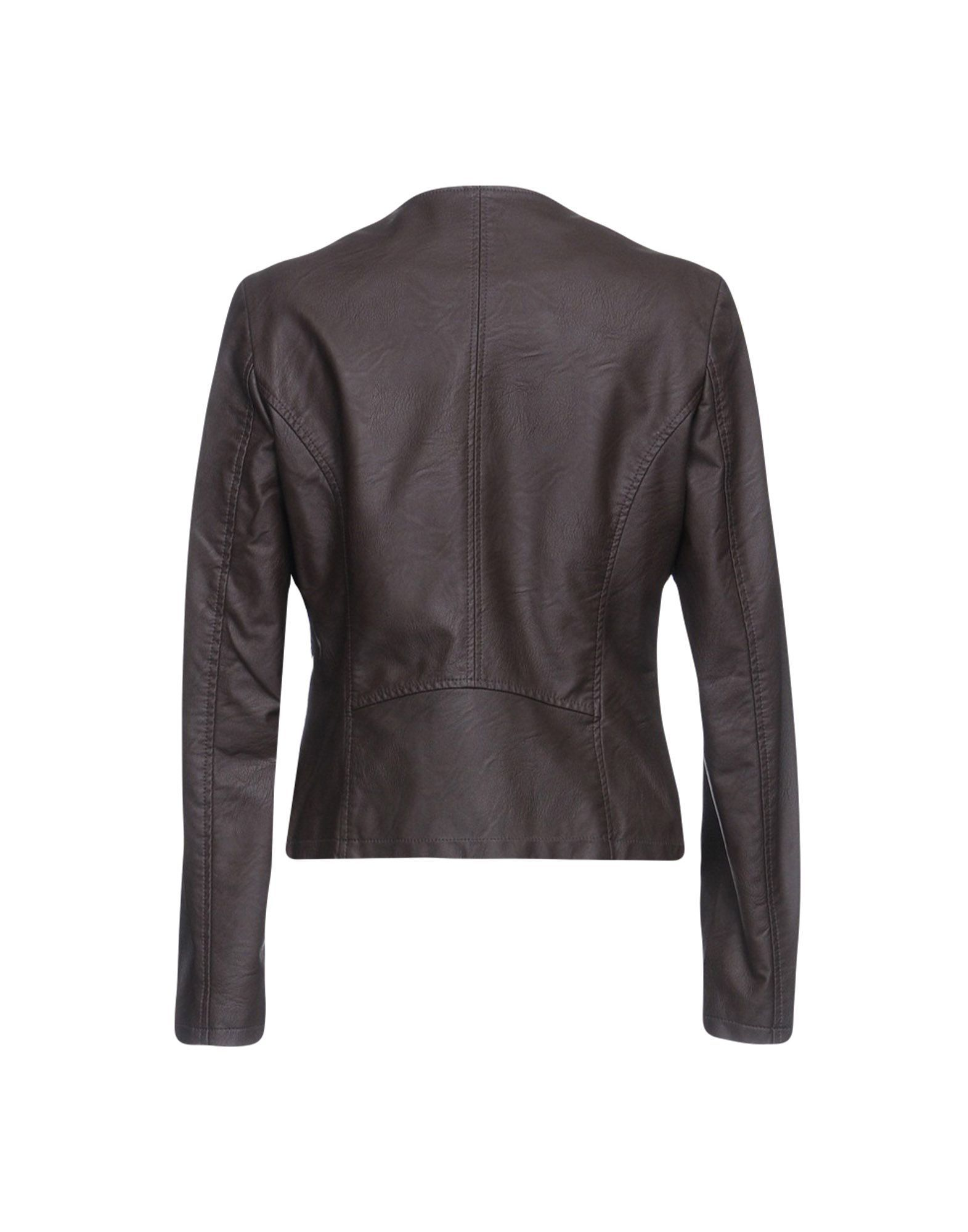 Kaos Jeans Dark Brown Faux Leather Jacket